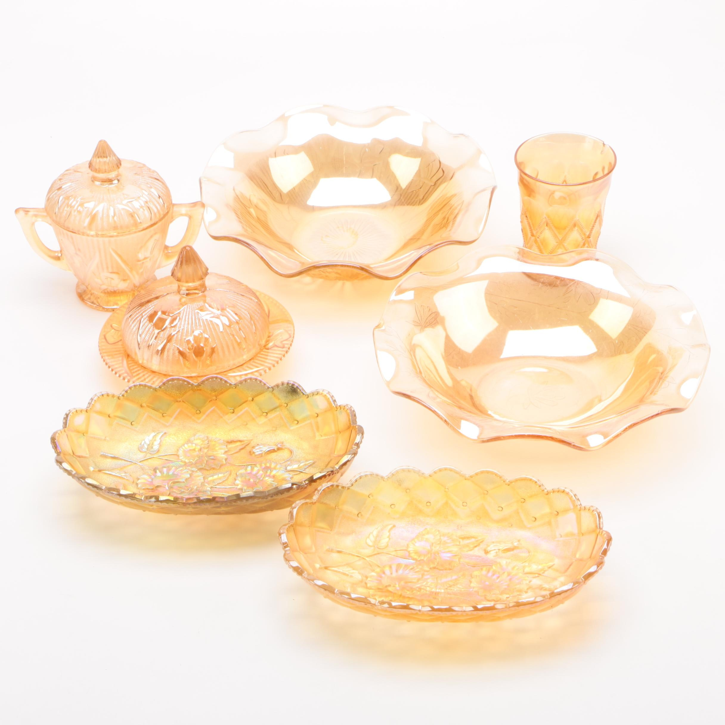 "Marigold Carnival Glass Dinnerware featuring Jeannette ""Iris and Herringbone"""