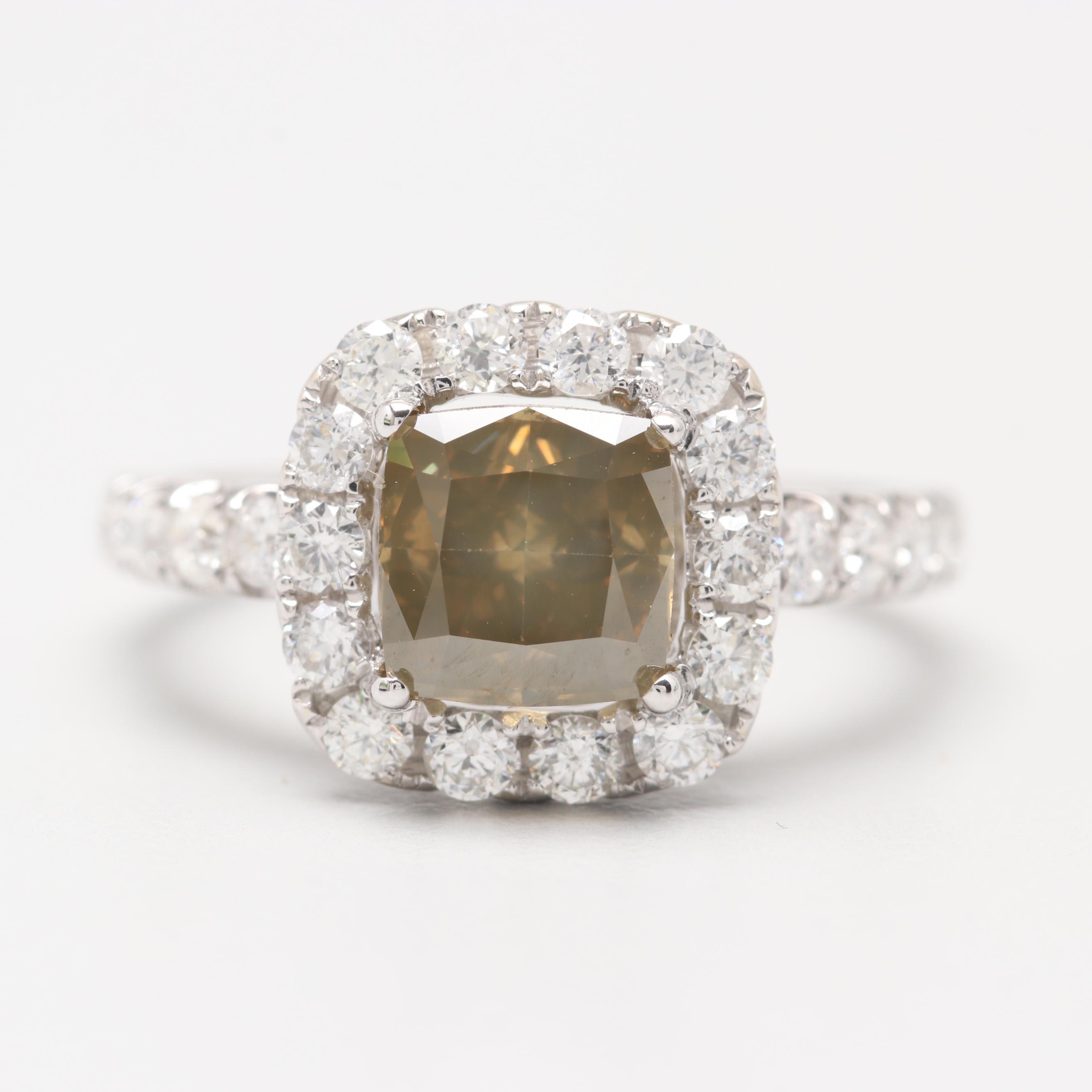 18K White Gold 2.23 CTW Diamond Ring Featuring Fancy Color Diamond