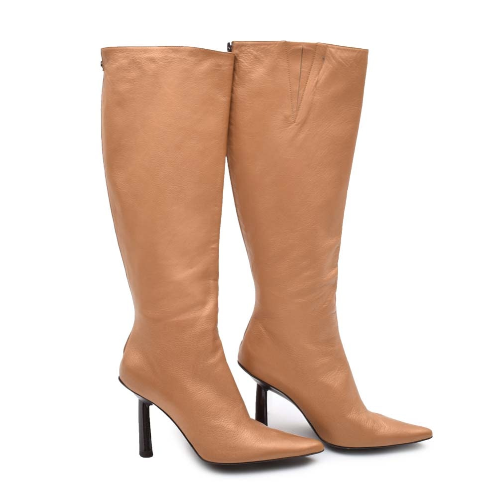 BCBGMaxazria Gold Leather High Heel Boots
