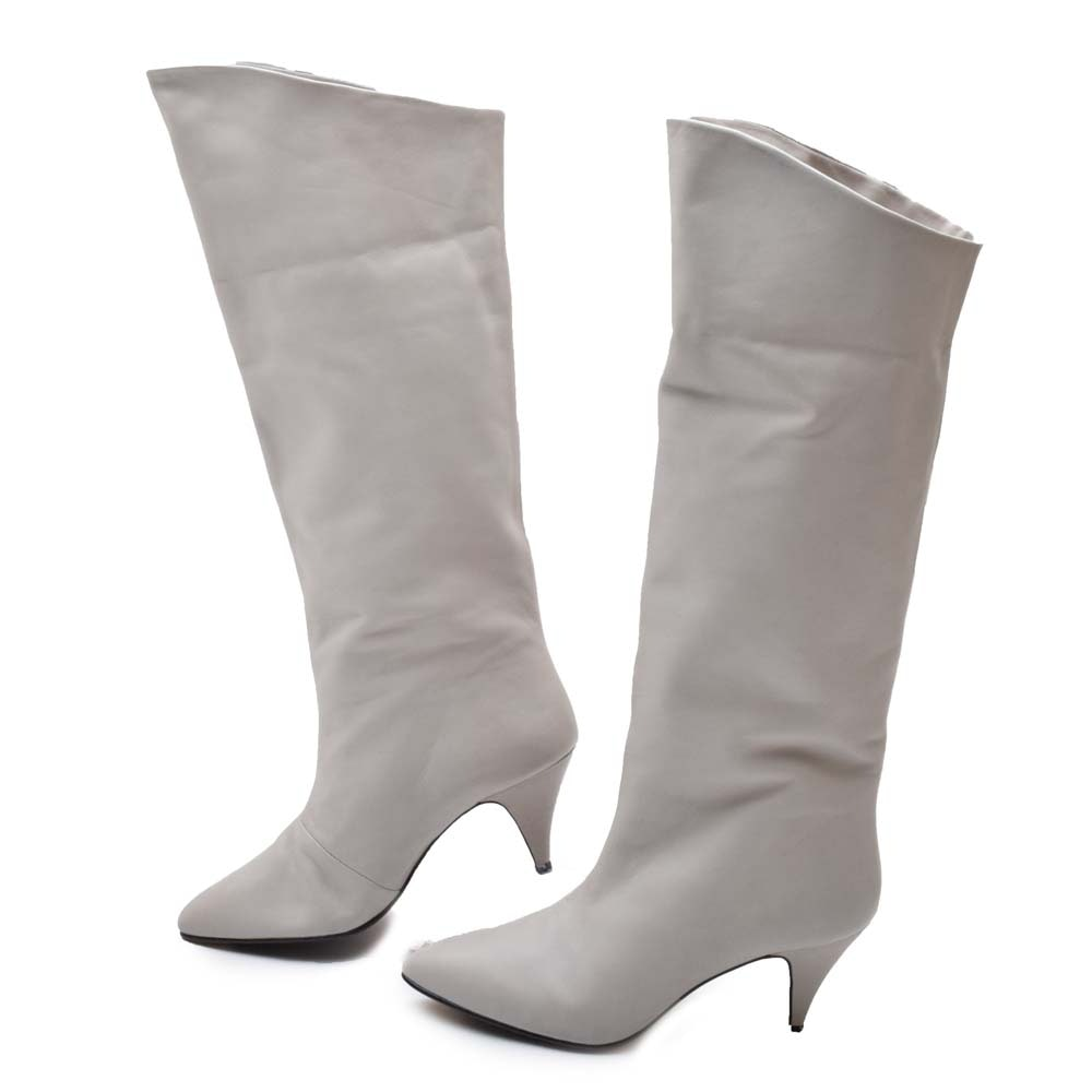 Phillis Gray Leather High-Heel Boots