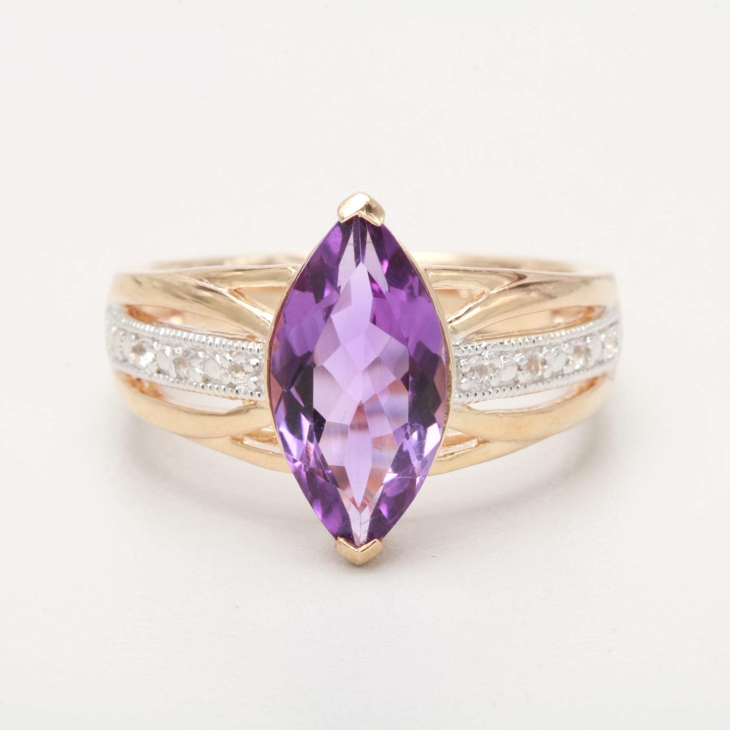 Gold Wash Sterling Silver Amethyst and Sapphire Ring
