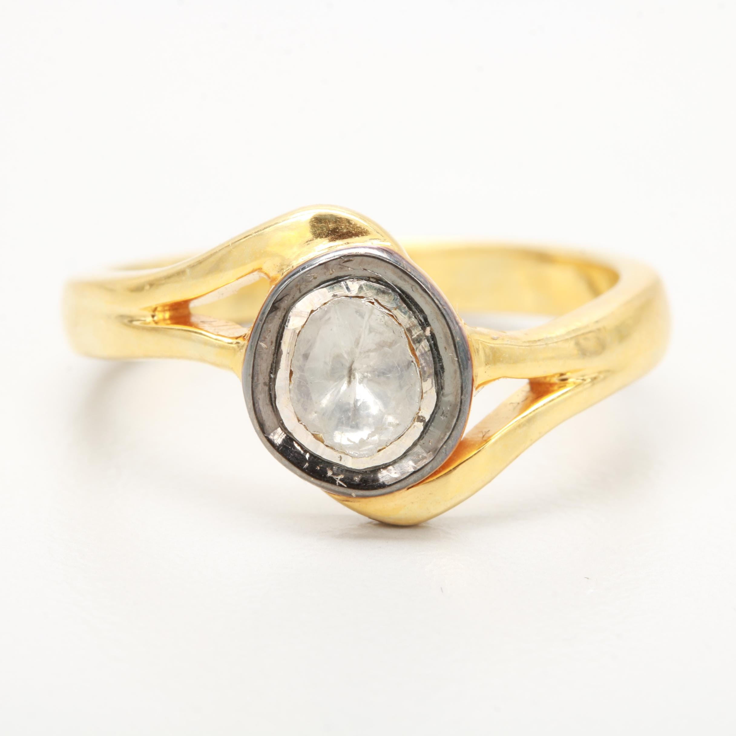 Gold Washed Sterling Silver Diamond Ring