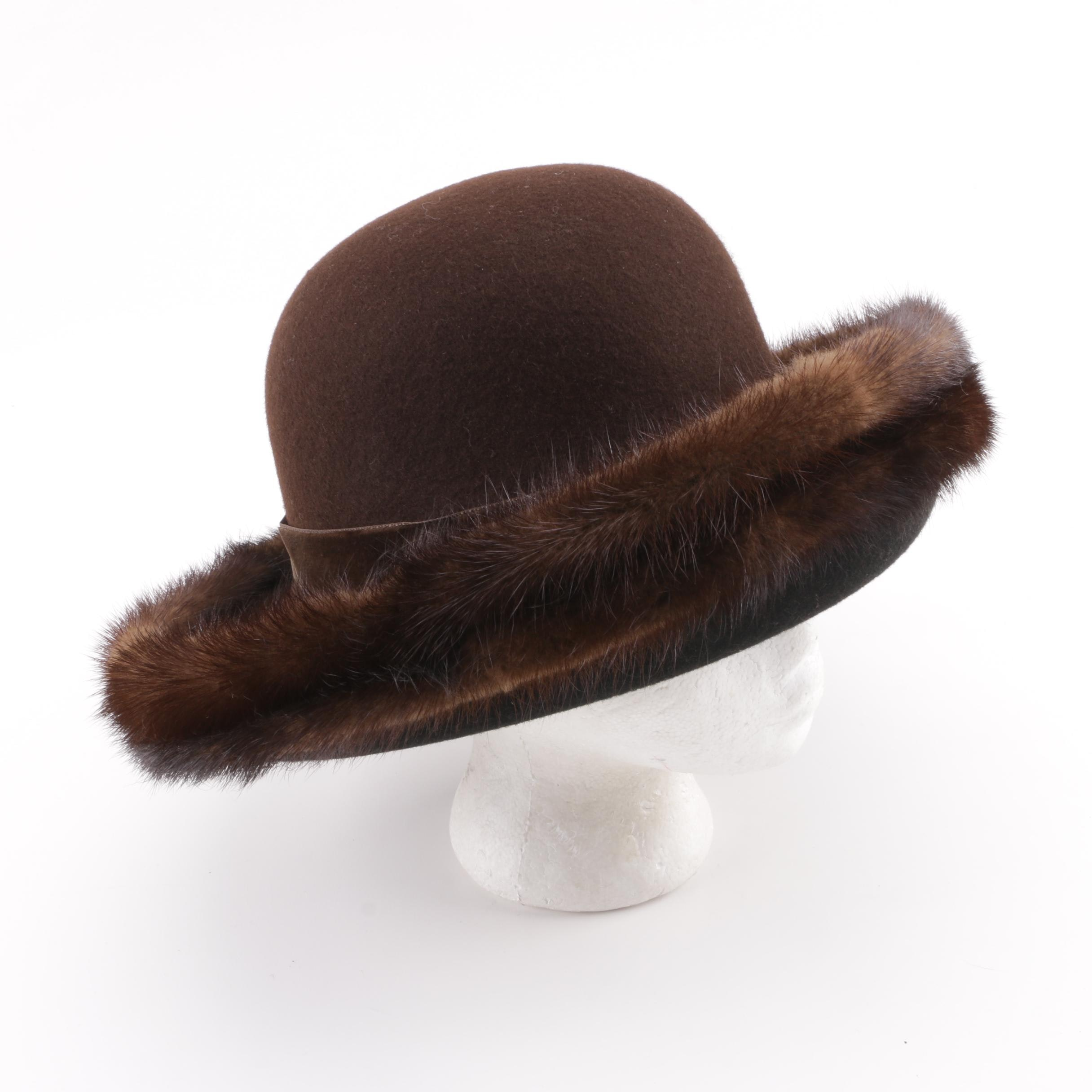 Lord & Taylor Black and Brown Wool Hat with Mink Fur Trim
