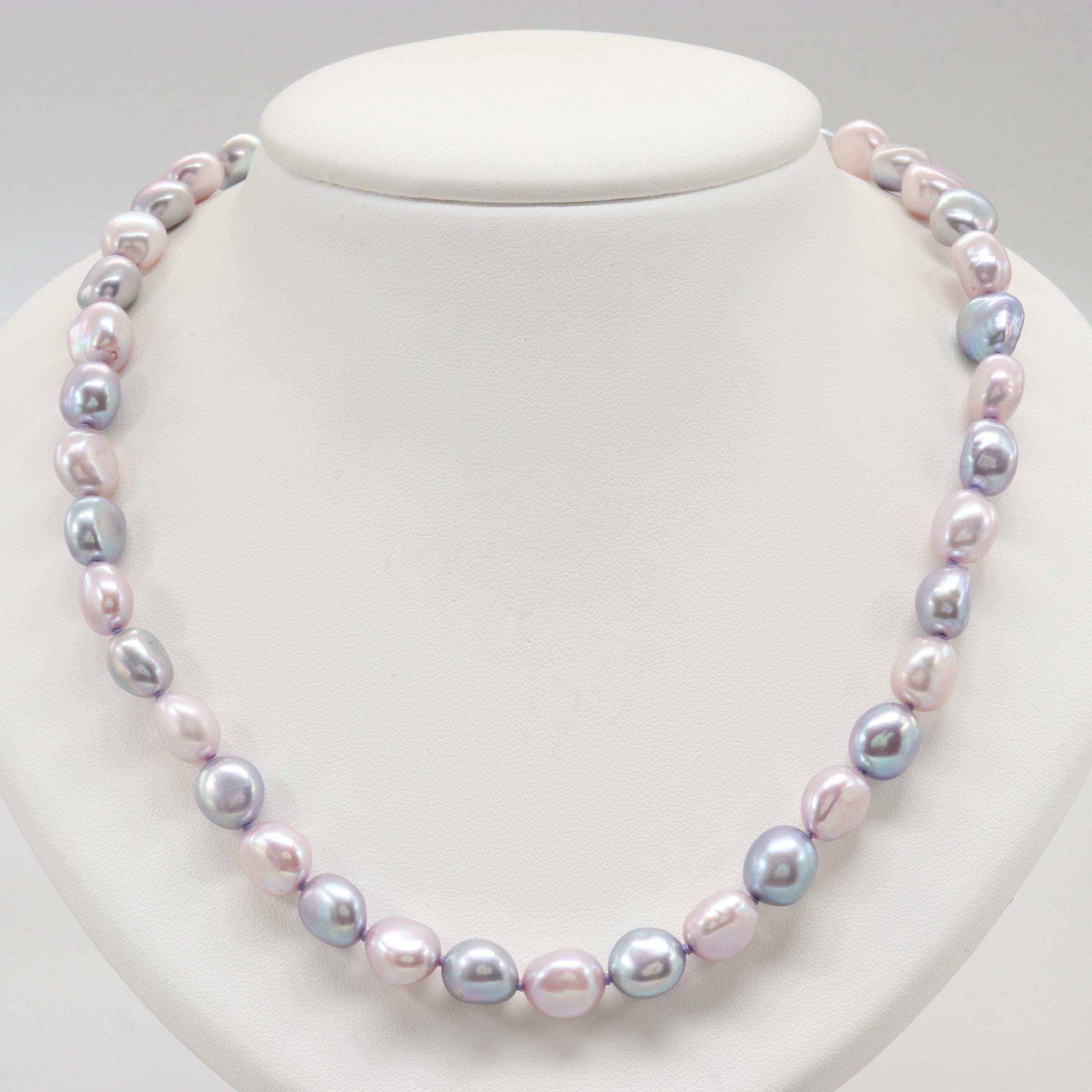 Sterling and Silver Tone Cultured Pearl Necklace