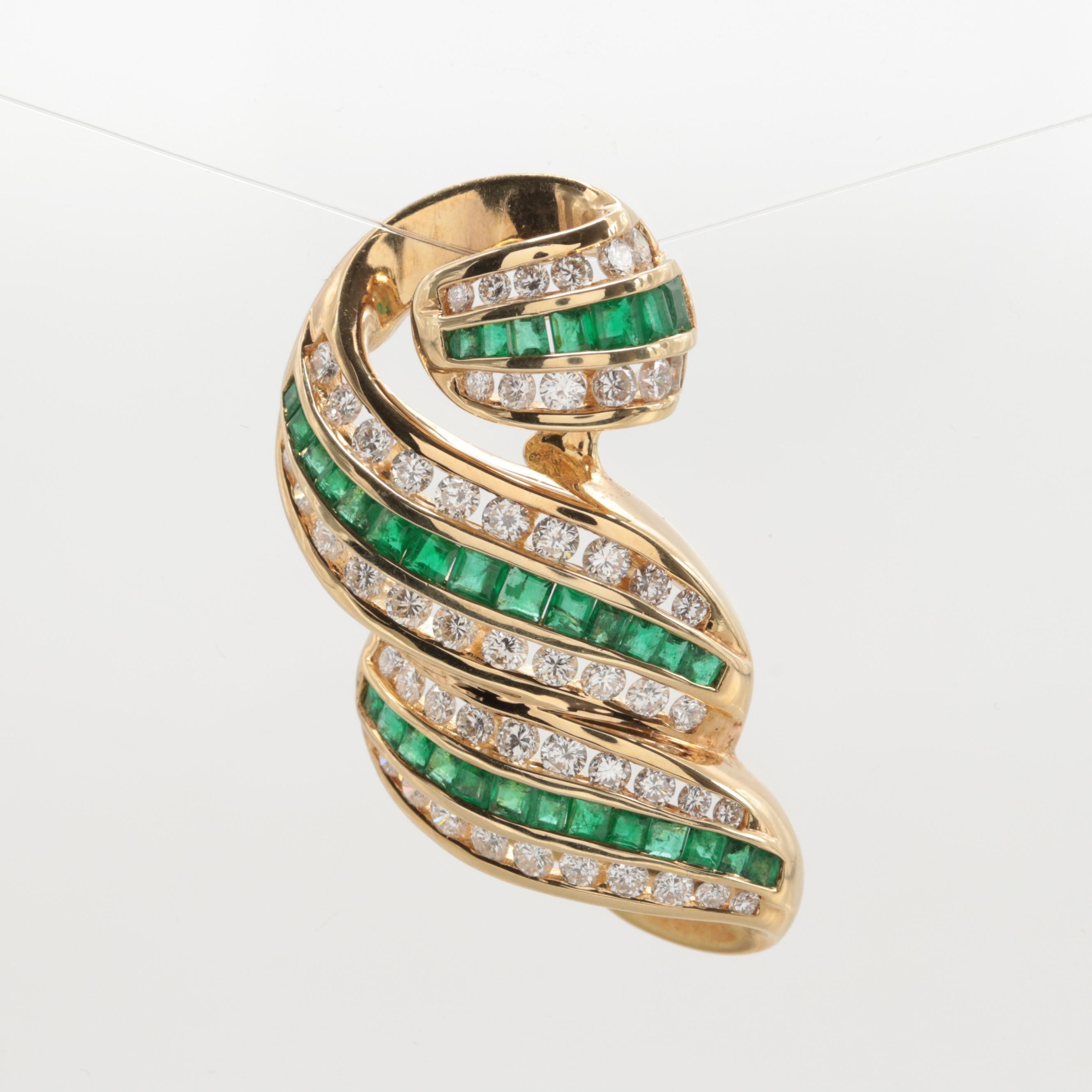 14K Yellow Gold Emerald and 1.75 CTW Diamond Pendant Slide