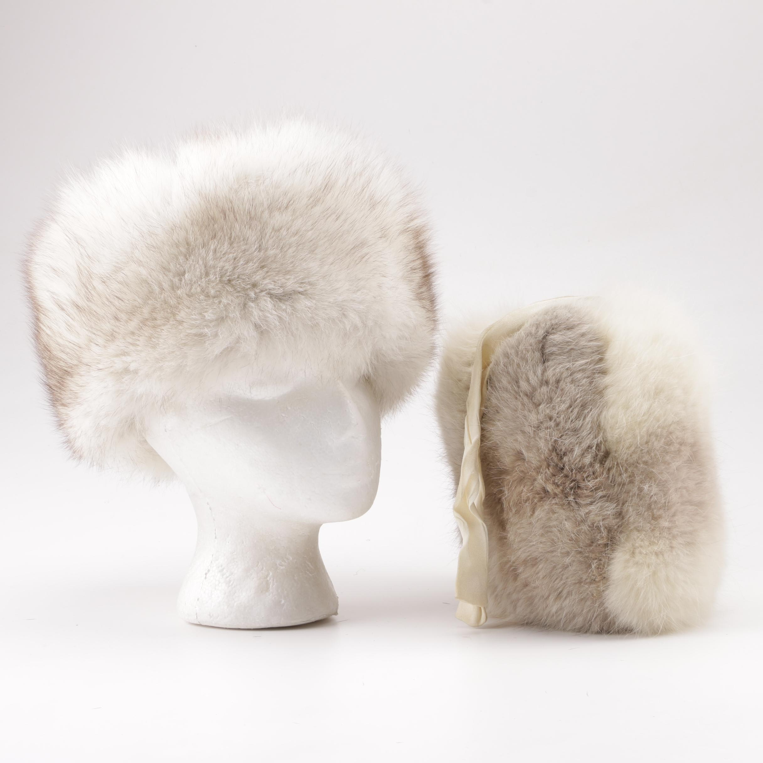 Russian Fox Fur Hat with Fox Fur Muff