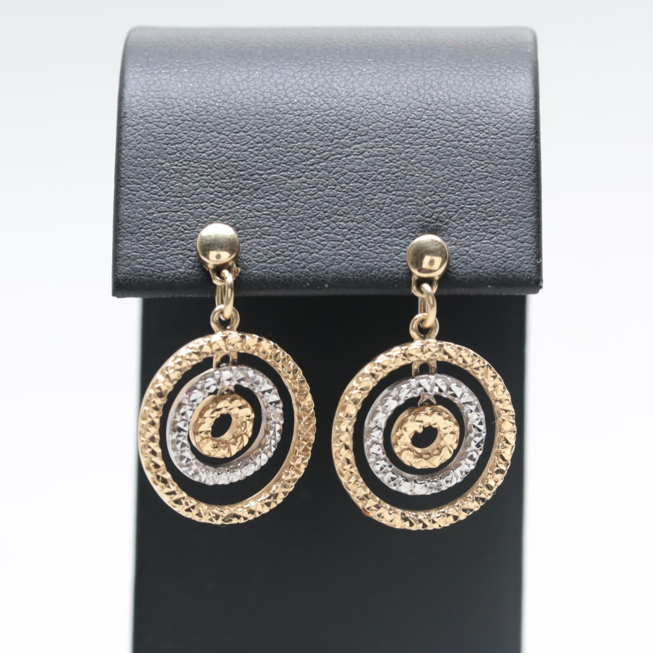 14K Yellow and White Gold Earrings