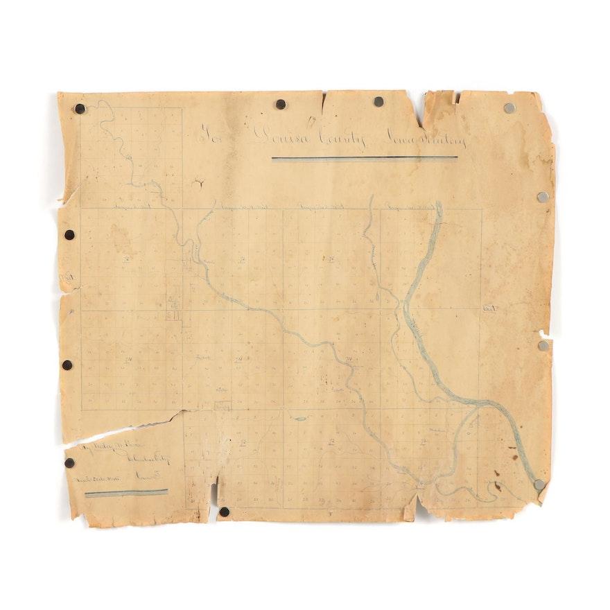 Garner Iowa Map.Wesley M Garner Louisa County Iowa Territory Property Map 1846 Ebth
