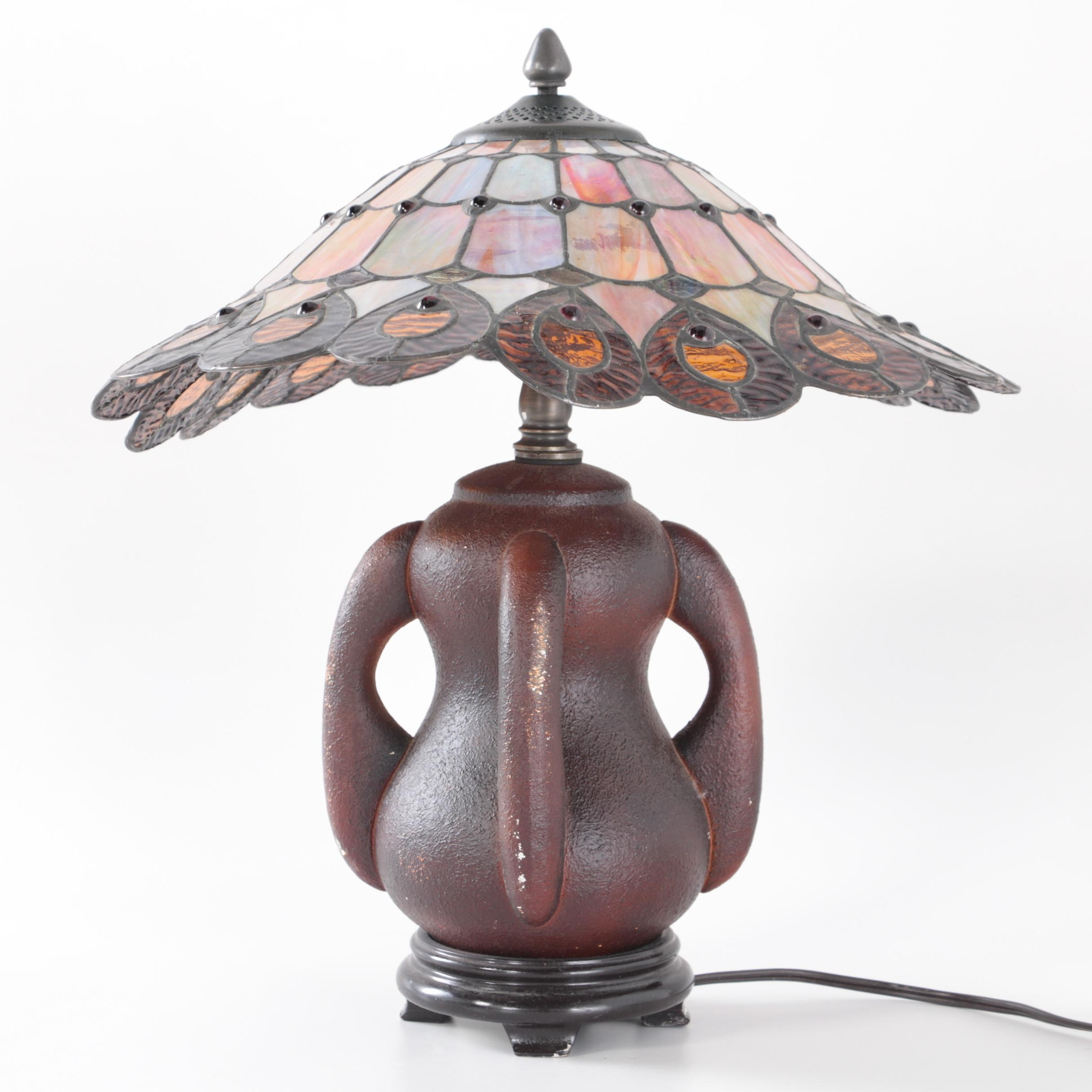 Dale Tiffany Craftsman Style Slag and Stained Glass Table Lamp