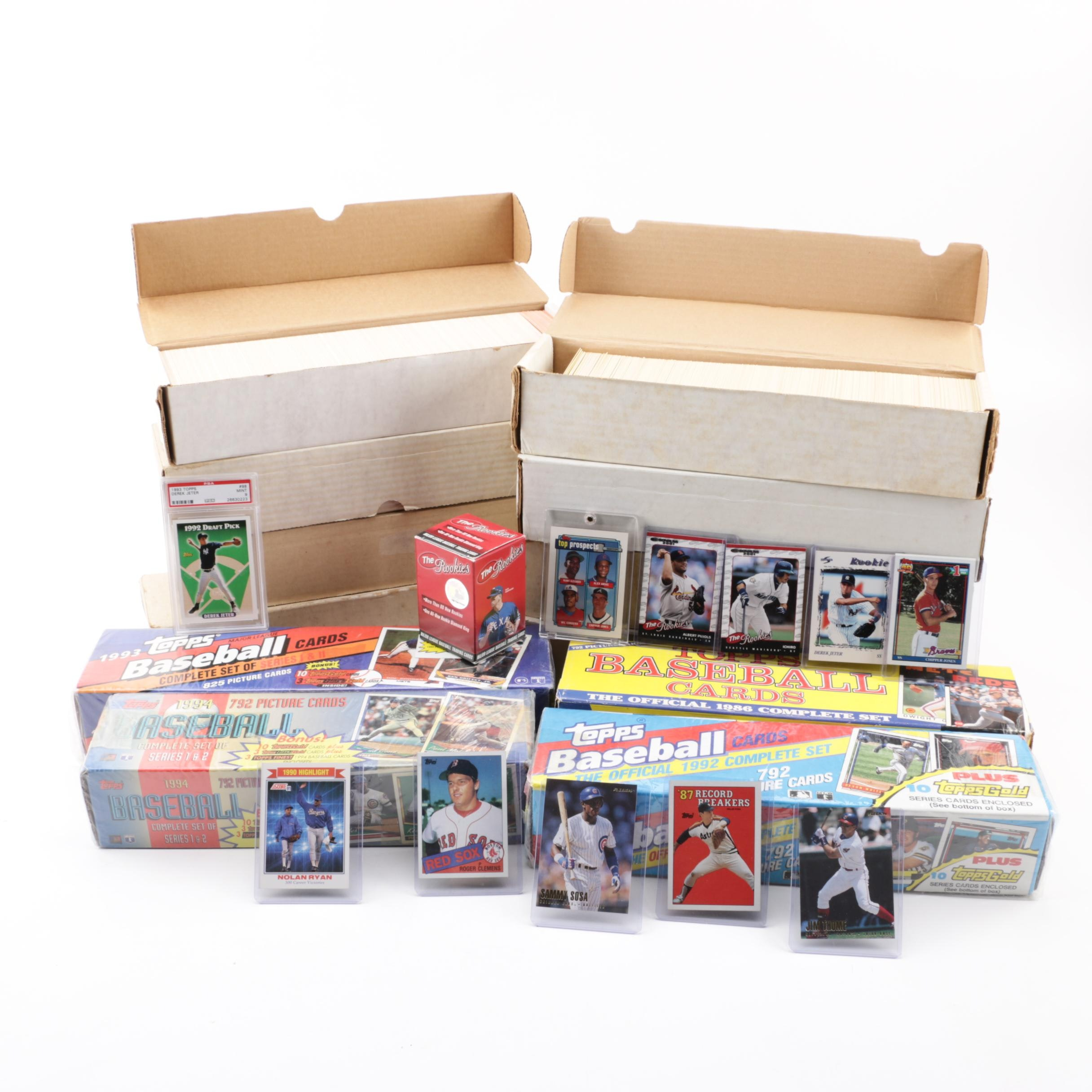 1980s-1990s Baseball Cards Sets with Topps Graded Jeter, Pujols, Ichiro Rookies