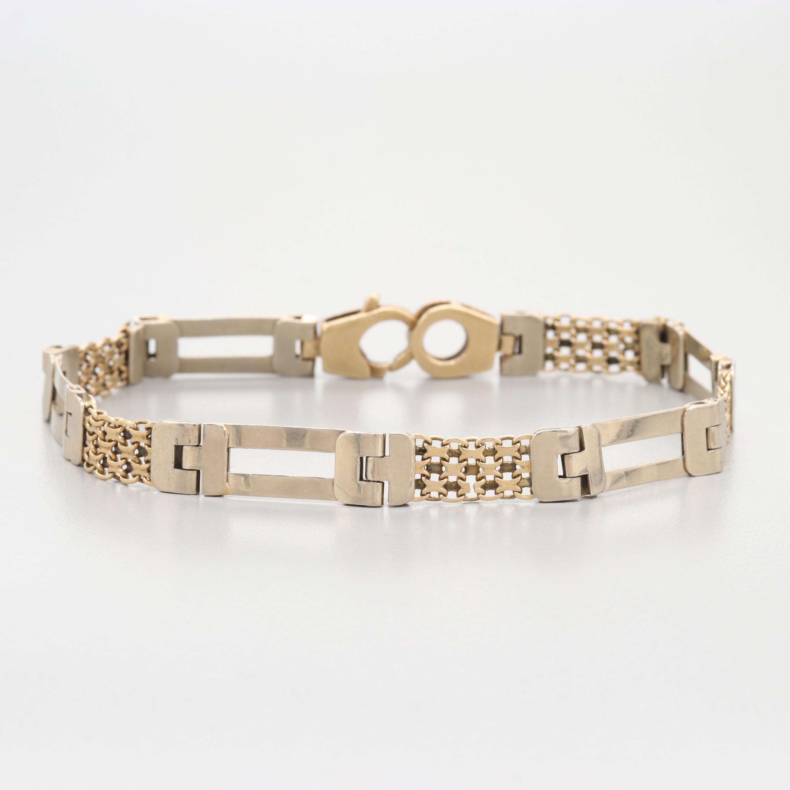 Italian 14K White and Yellow Gold Link Bracelet