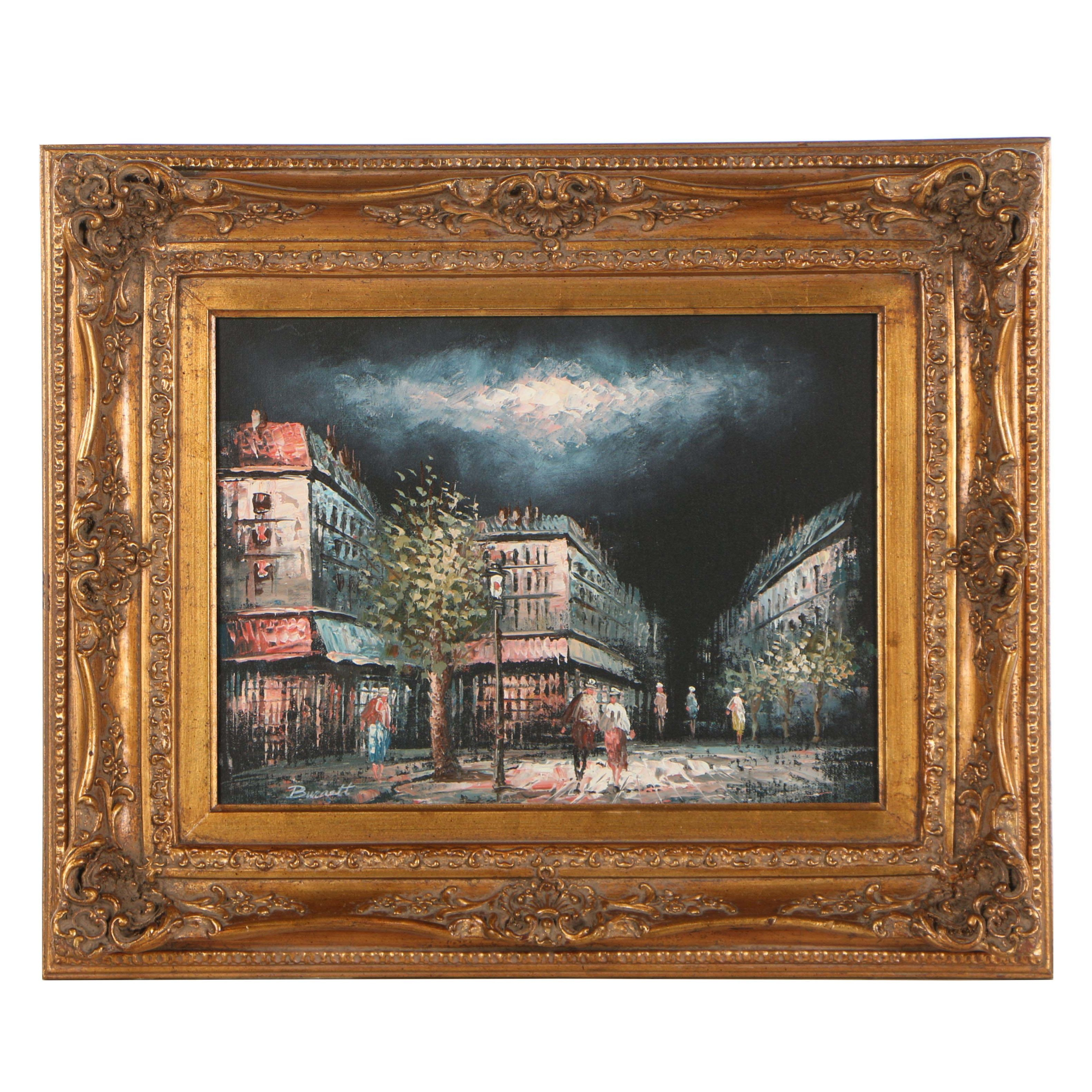 Nightfall Street Scene Oil Painting in the Manner of Caroline C. Burnett