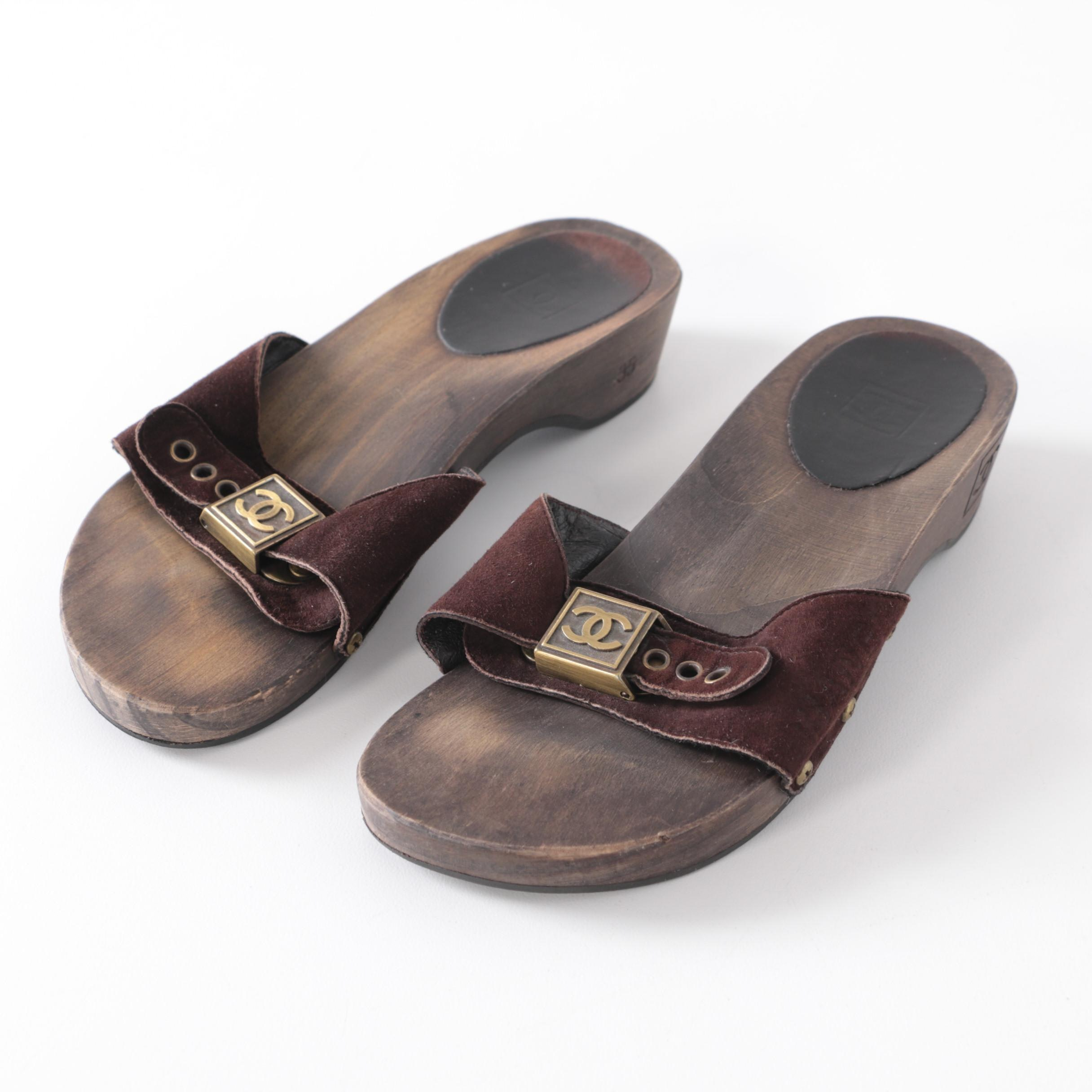 Women's Chanel Dark Brown Suede Slide Sandals