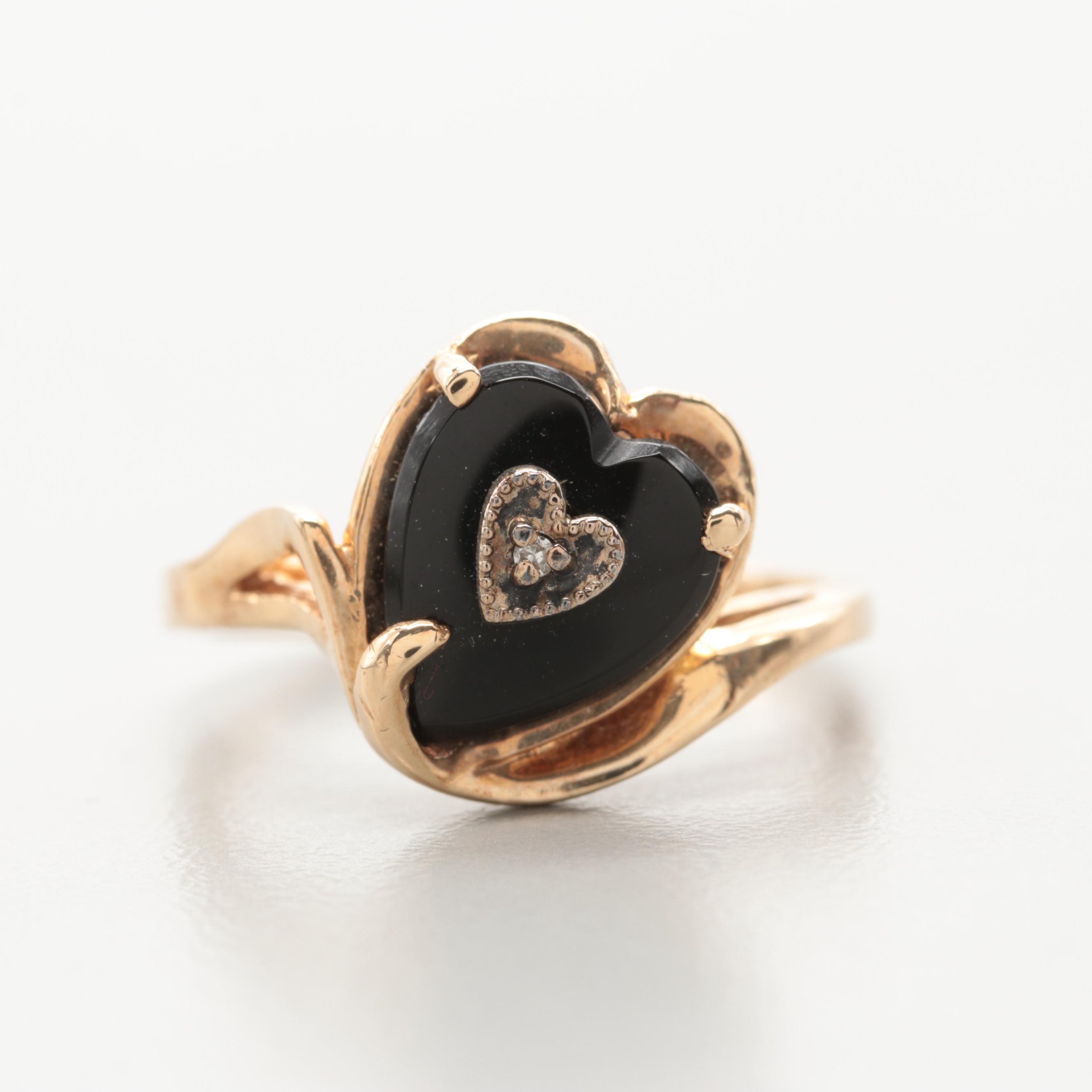 10K Yellow Gold Black Onyx and Diamond Ring