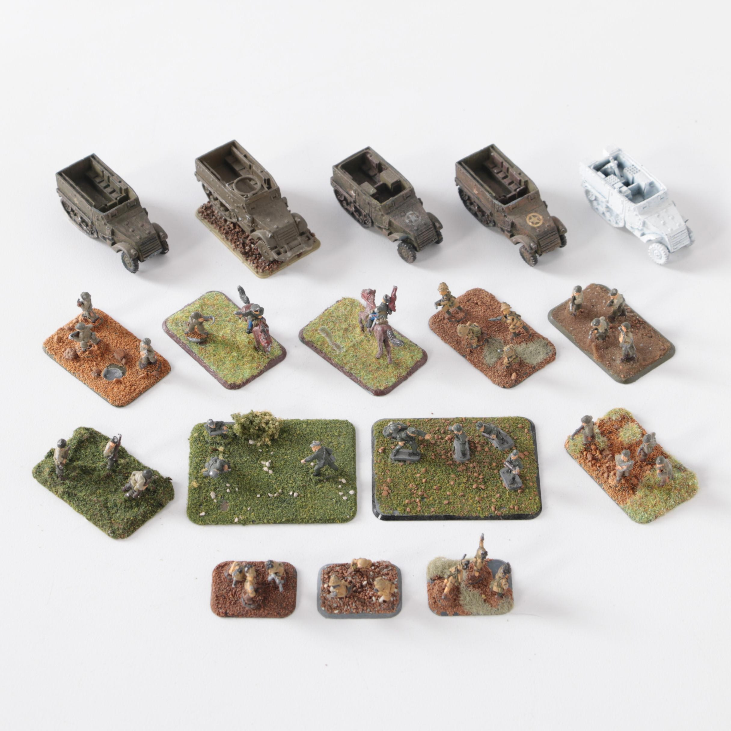 Military Themed Painted Soldiers and Military Vehicles with Turf