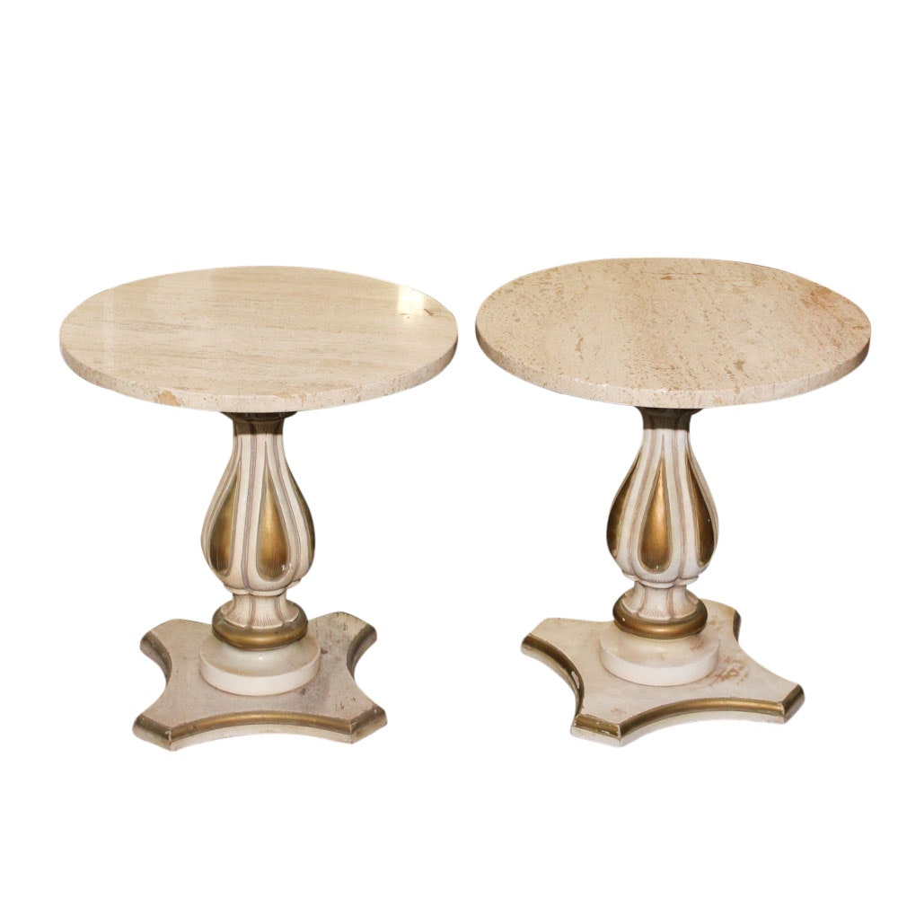 Pair of French Provincial Style Wood and Marble Tables, Mid-20th Century