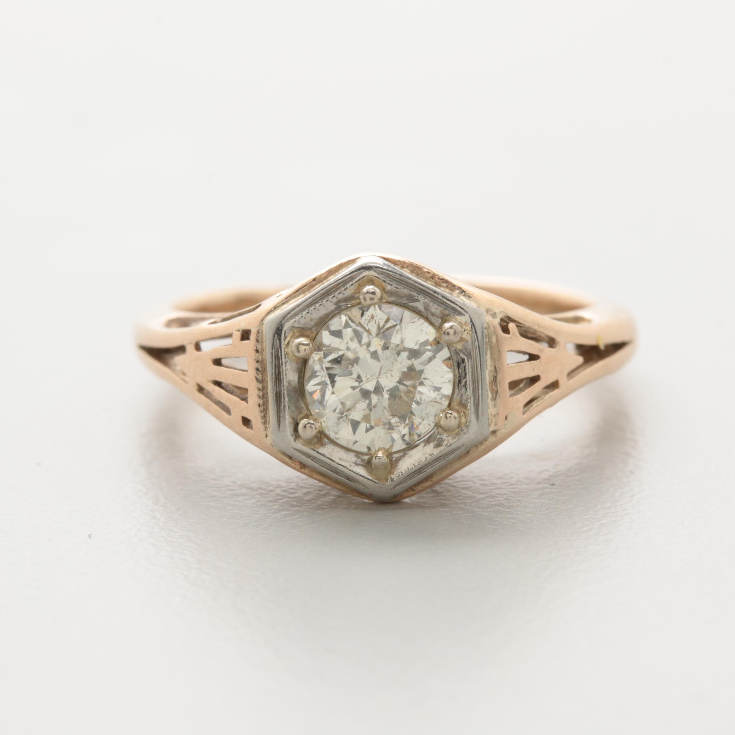 Art Deco Style 14K Yellow Gold Diamond Ring