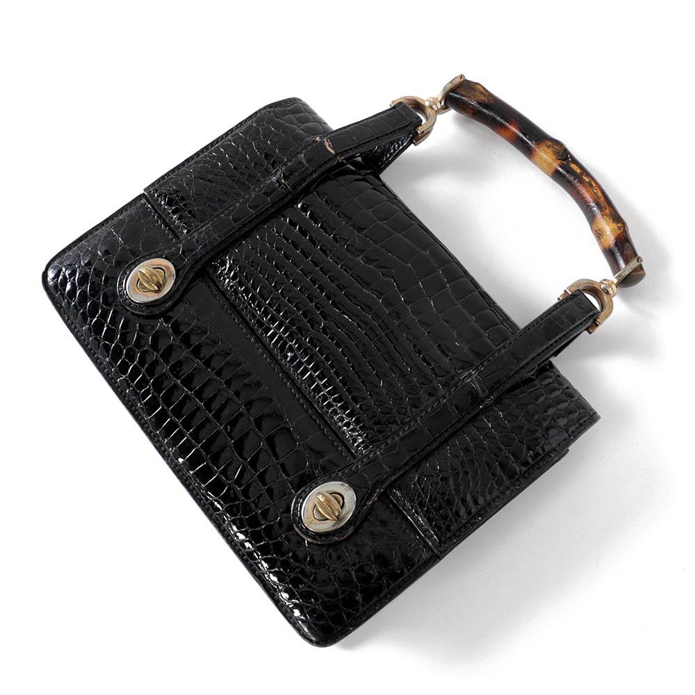 f10aab375a2 Vintage gucci black crocodile handbag with bamboo handle ebth jpg 880x880  Gucci bamboo handle blue handles