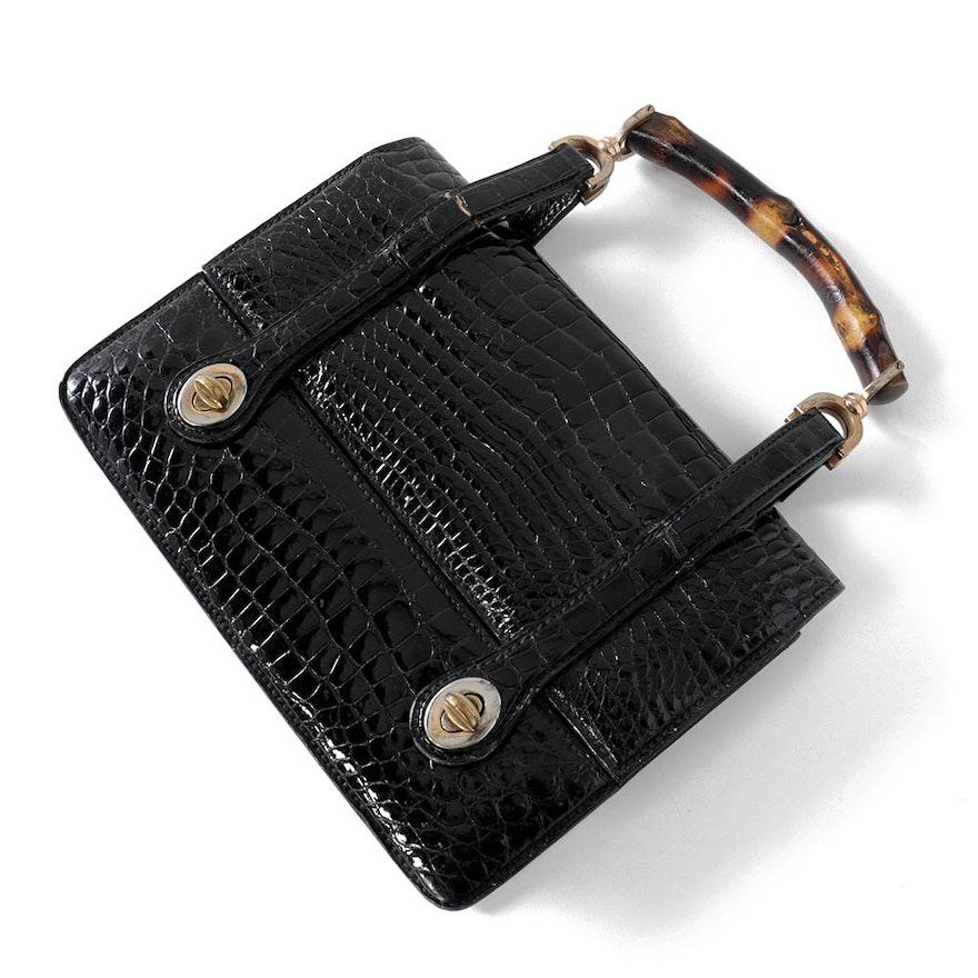 04ade4b3170 Vintage Gucci Black Crocodile Handbag with Bamboo Handle