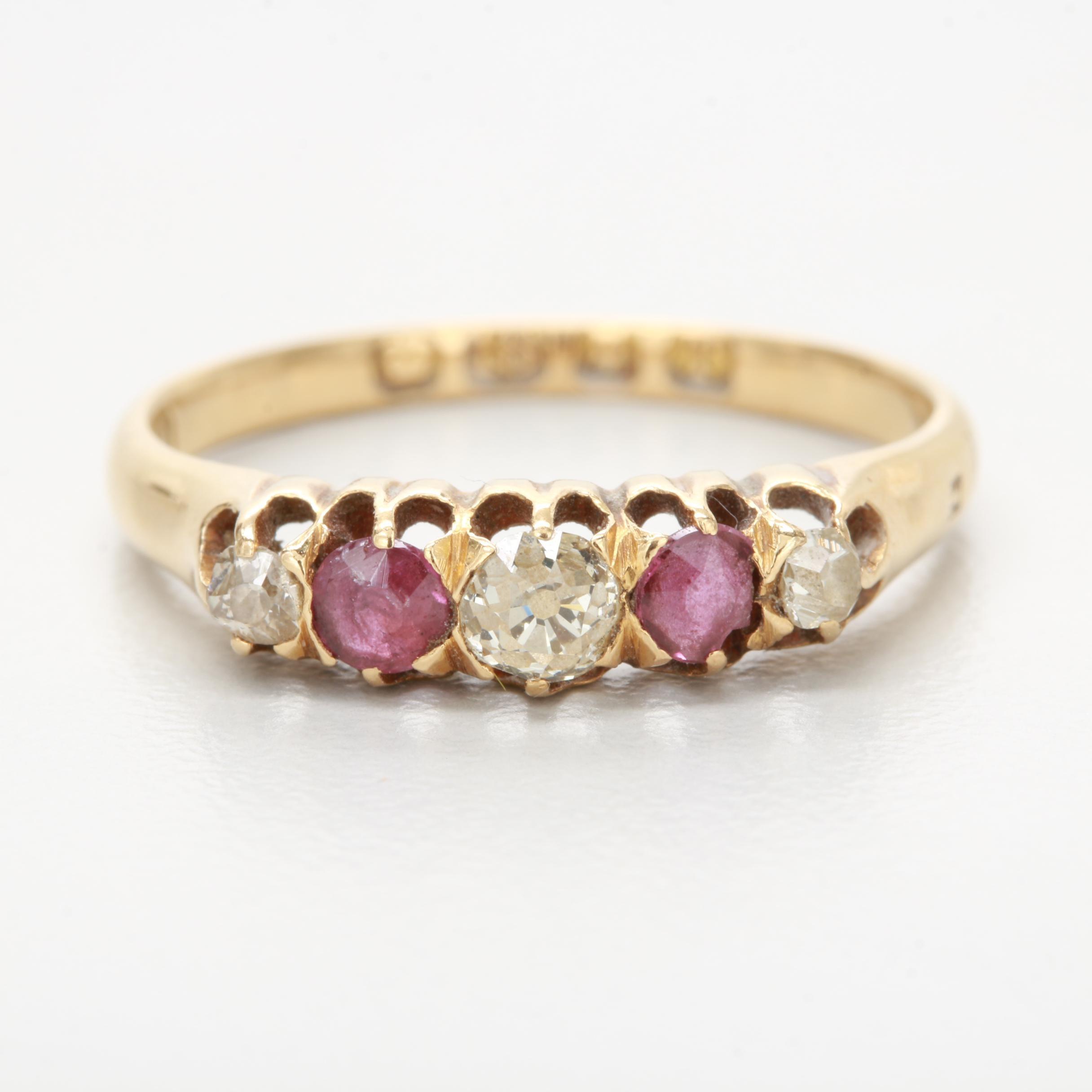 Georgian 18K Yellow Gold Ruby and Old European Cut Diamond Ring