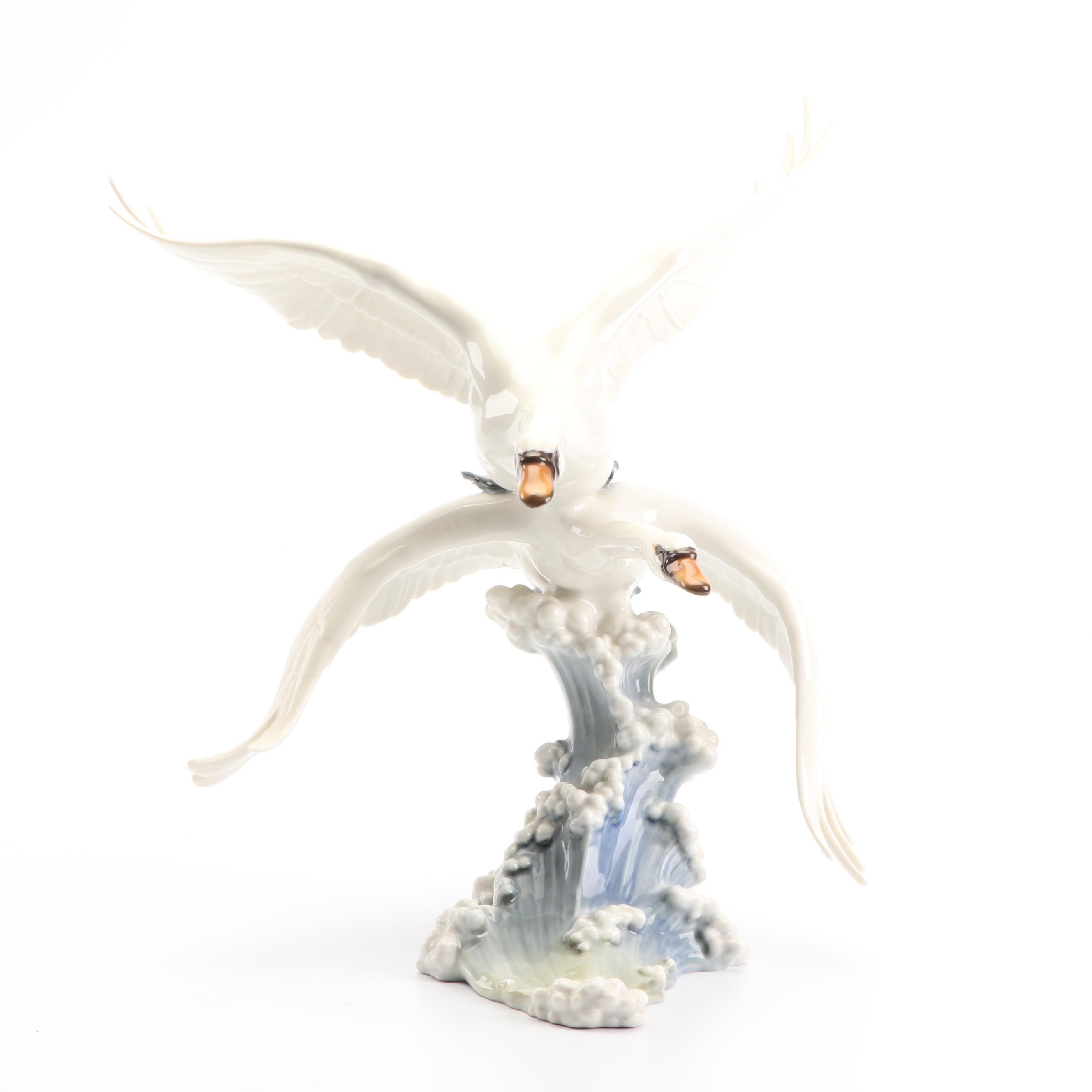 """Lorenz Hutschenreuther """"Swans in Flight"""" Porcelain Sculpture"""