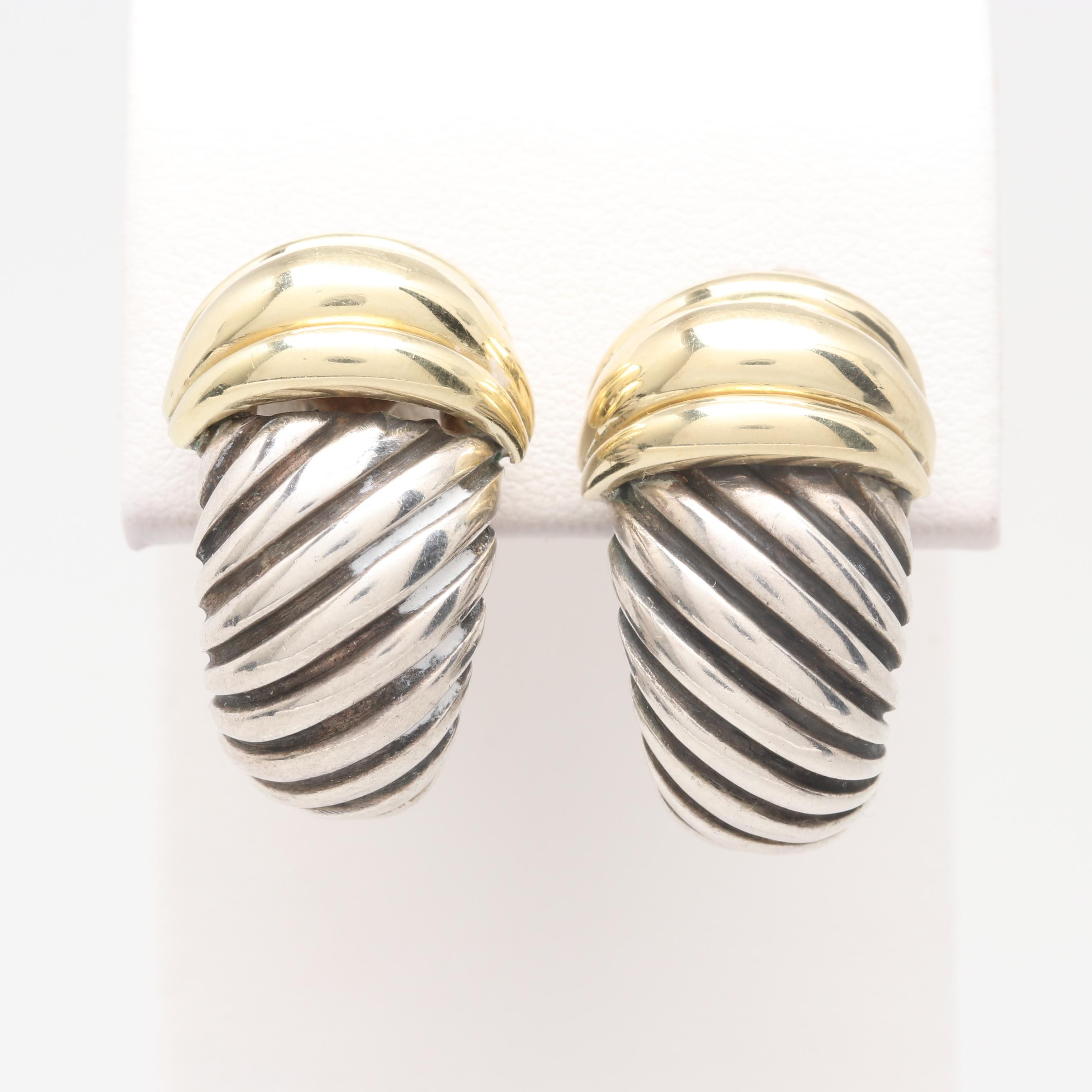 """David Yurman 14K Yellow Gold and Sterling Silver """"Thoroughbred"""" Earrings"""
