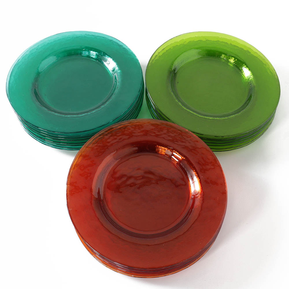 Olive, Teal and Amber Glass Plates