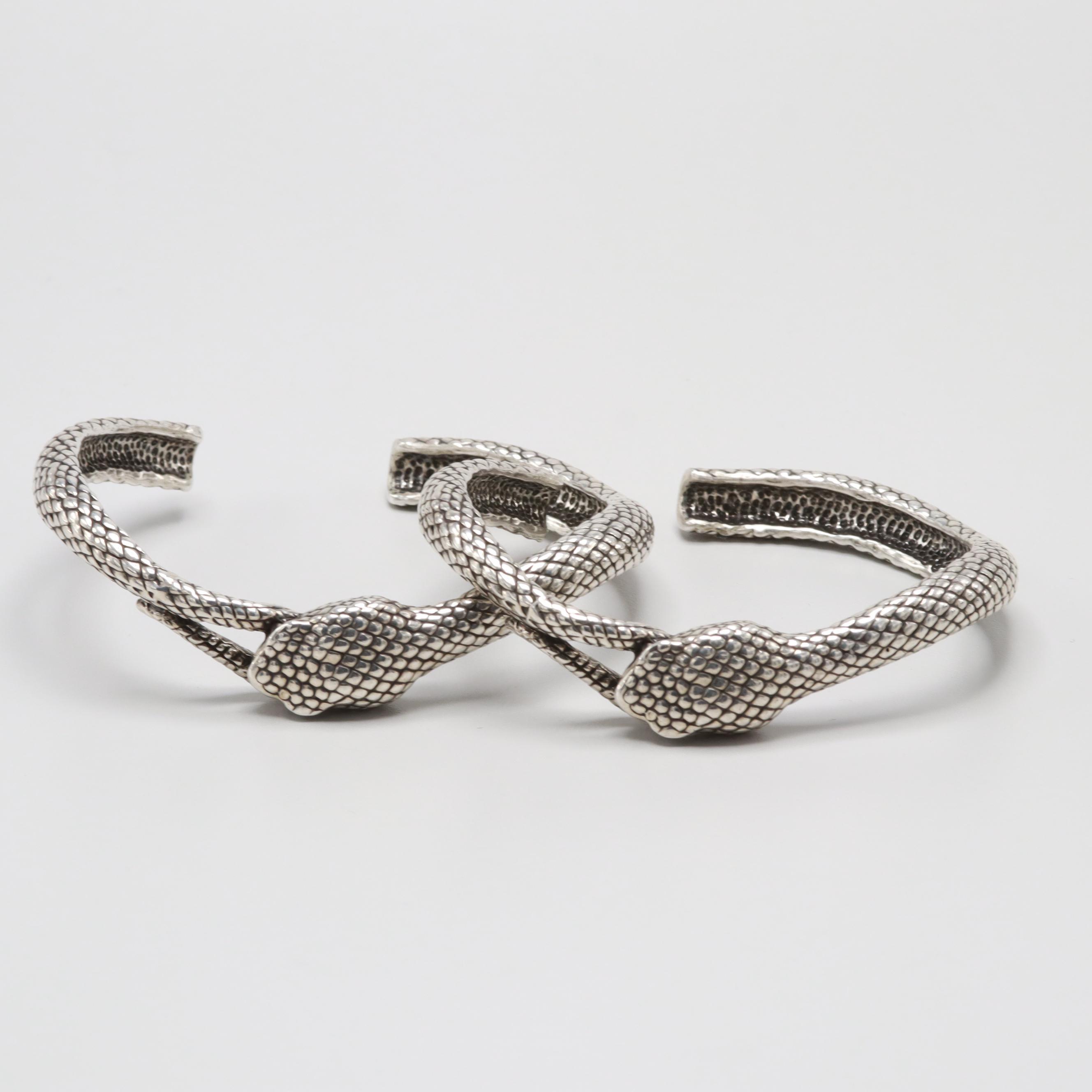 Sterling Silver Snake Motif Bracelets