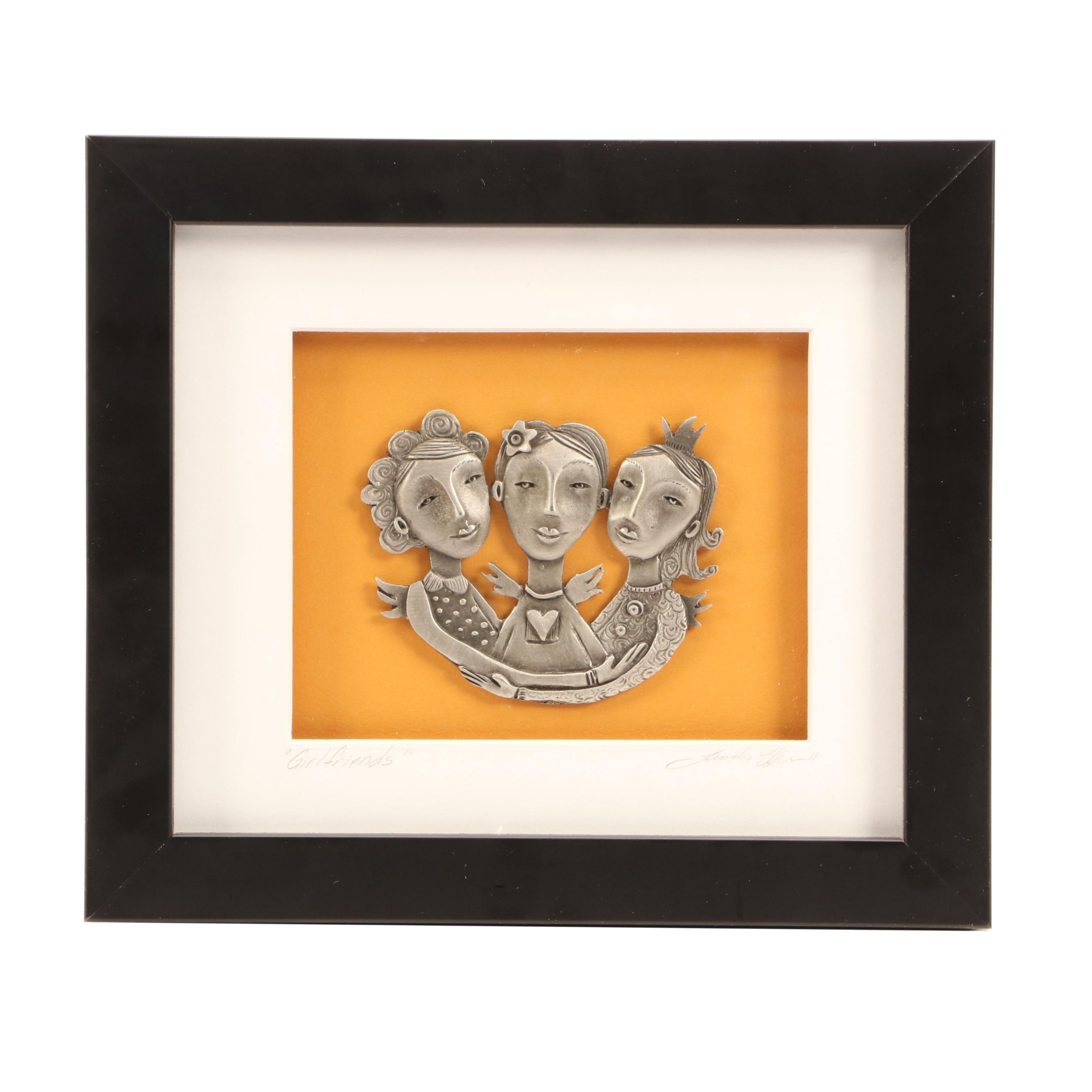 "Leandra Drumm Cast Pewter Wall-hanging ""Girlfriends"""