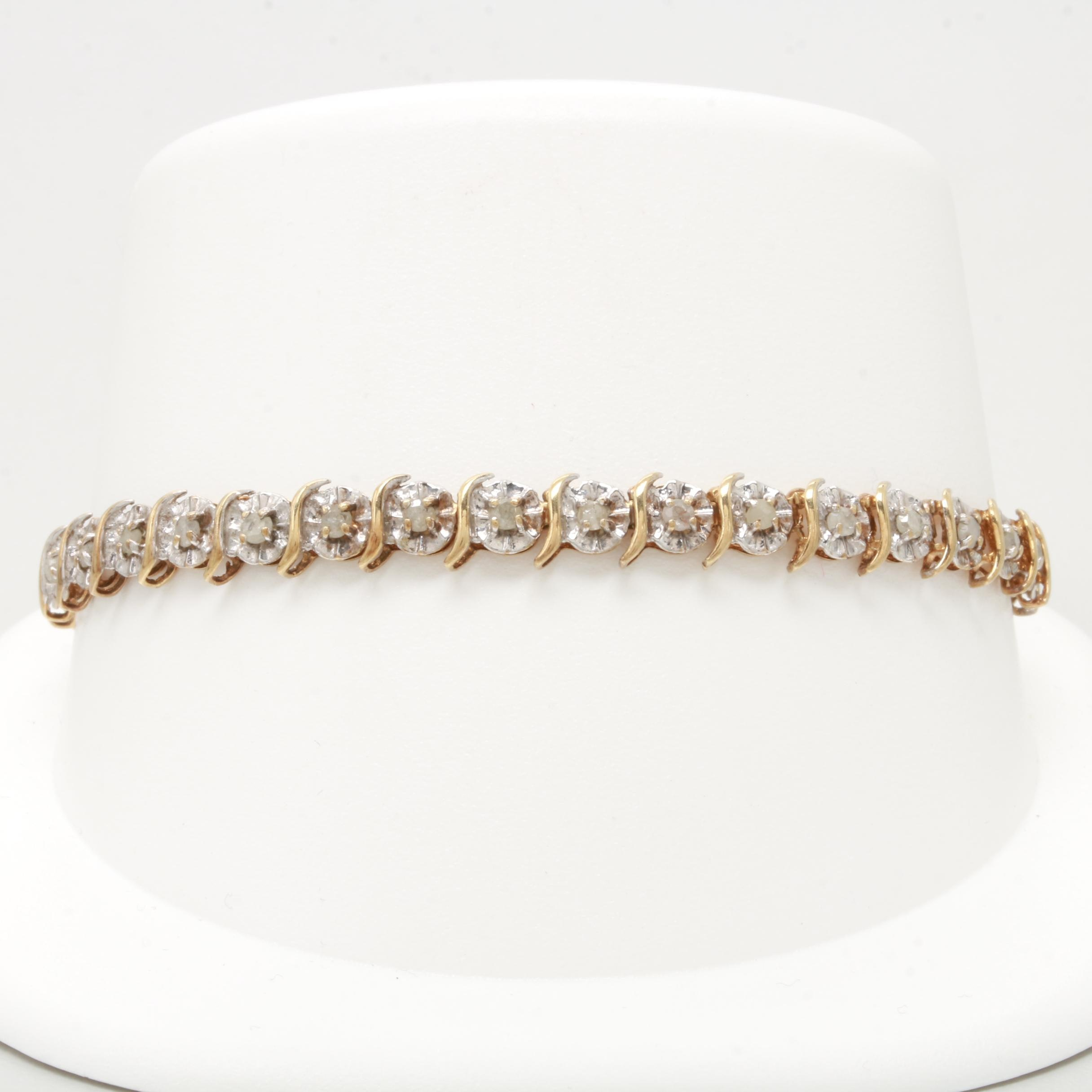 10K Yellow Gold 1.05 CTW Diamond Bracelet