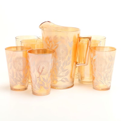 Vintage Jeannette Marigold Carnival Glass Water Pitcher and Assorted Tumblers