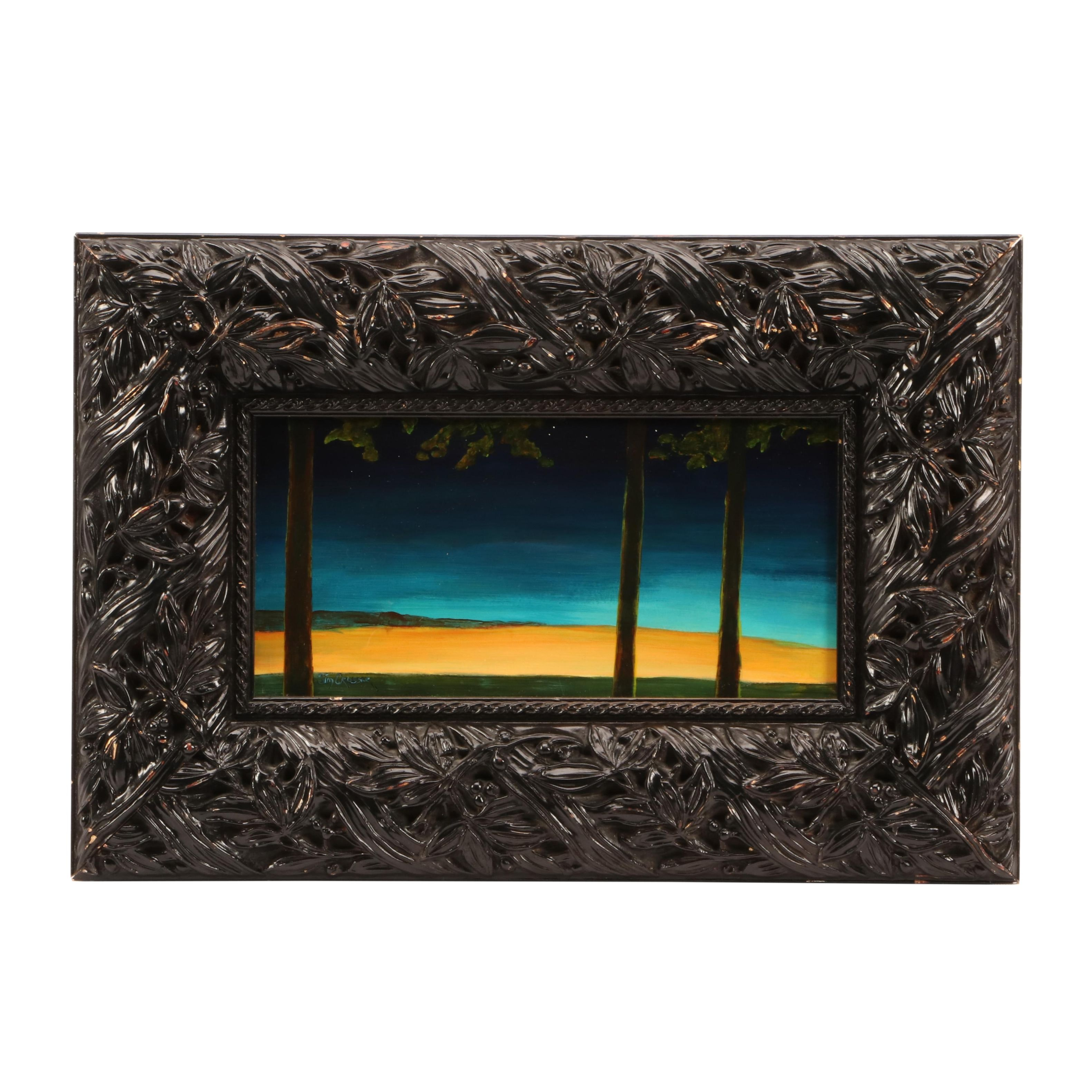 James Crosser Oil Painting of Abstract Nocturnal Landscape