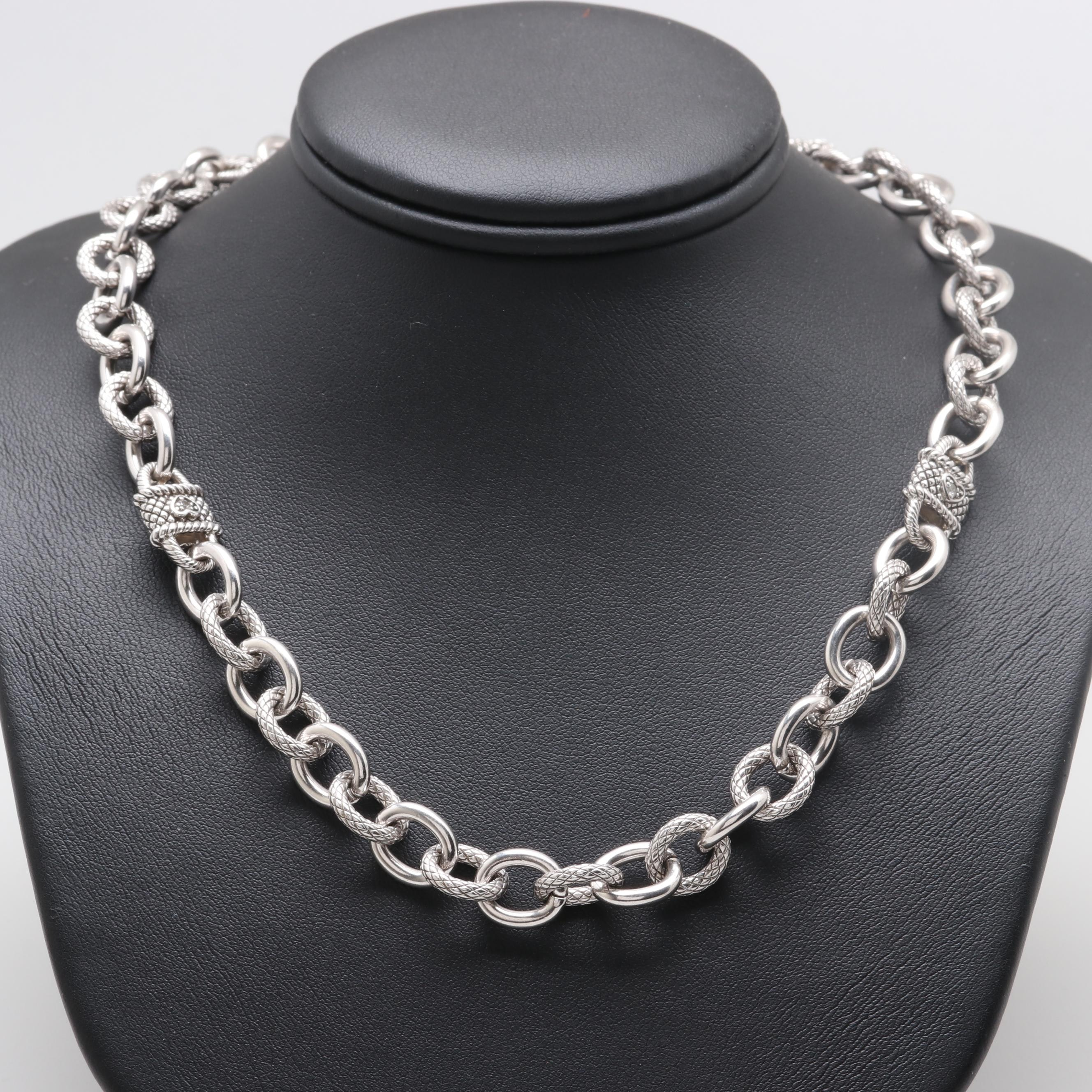 Judith Ripka Sterling Silver Cubic Zirconia Fancy Link Necklace