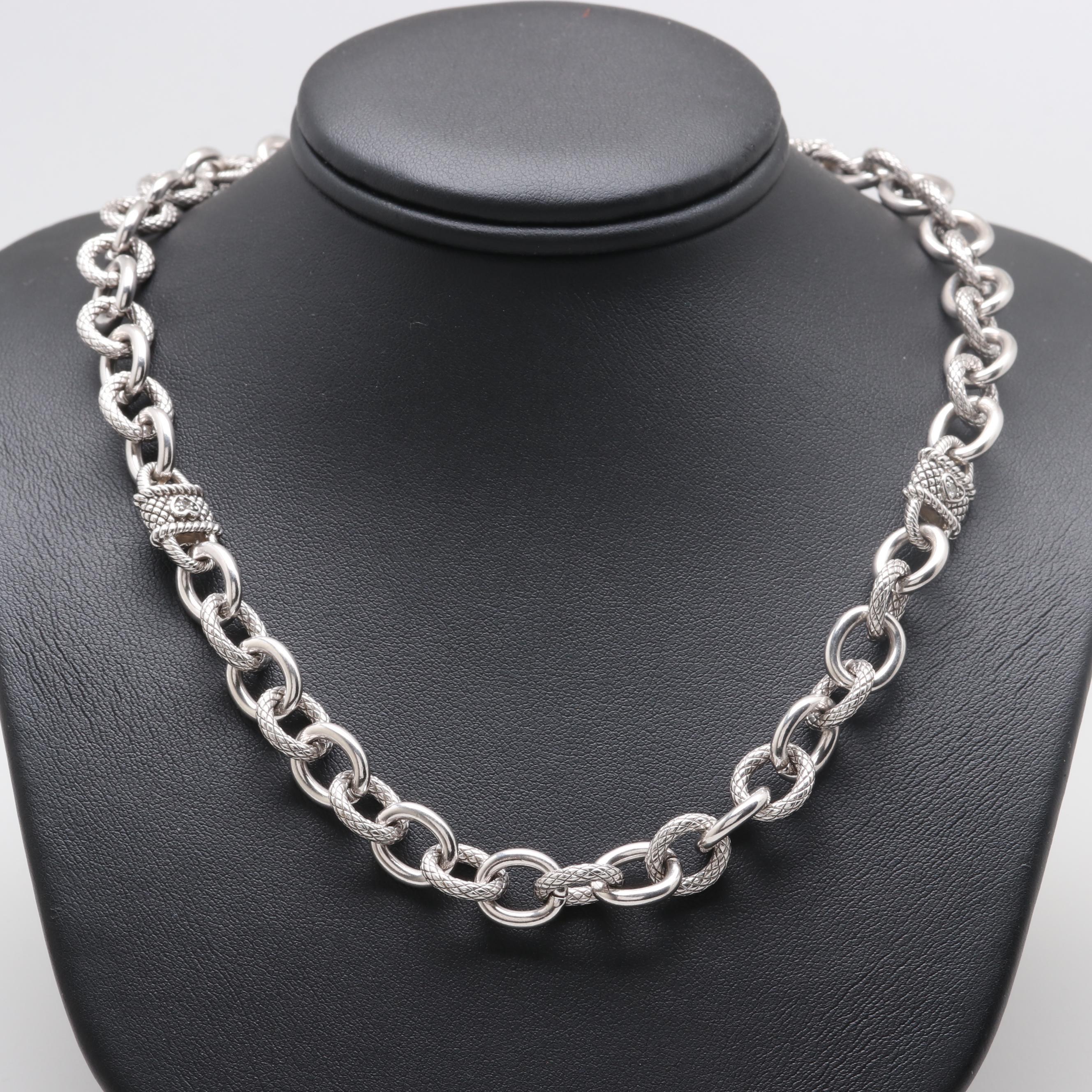 Judith Ripka Sterling Silver Cubic Zirconia Fancy Link Necklace