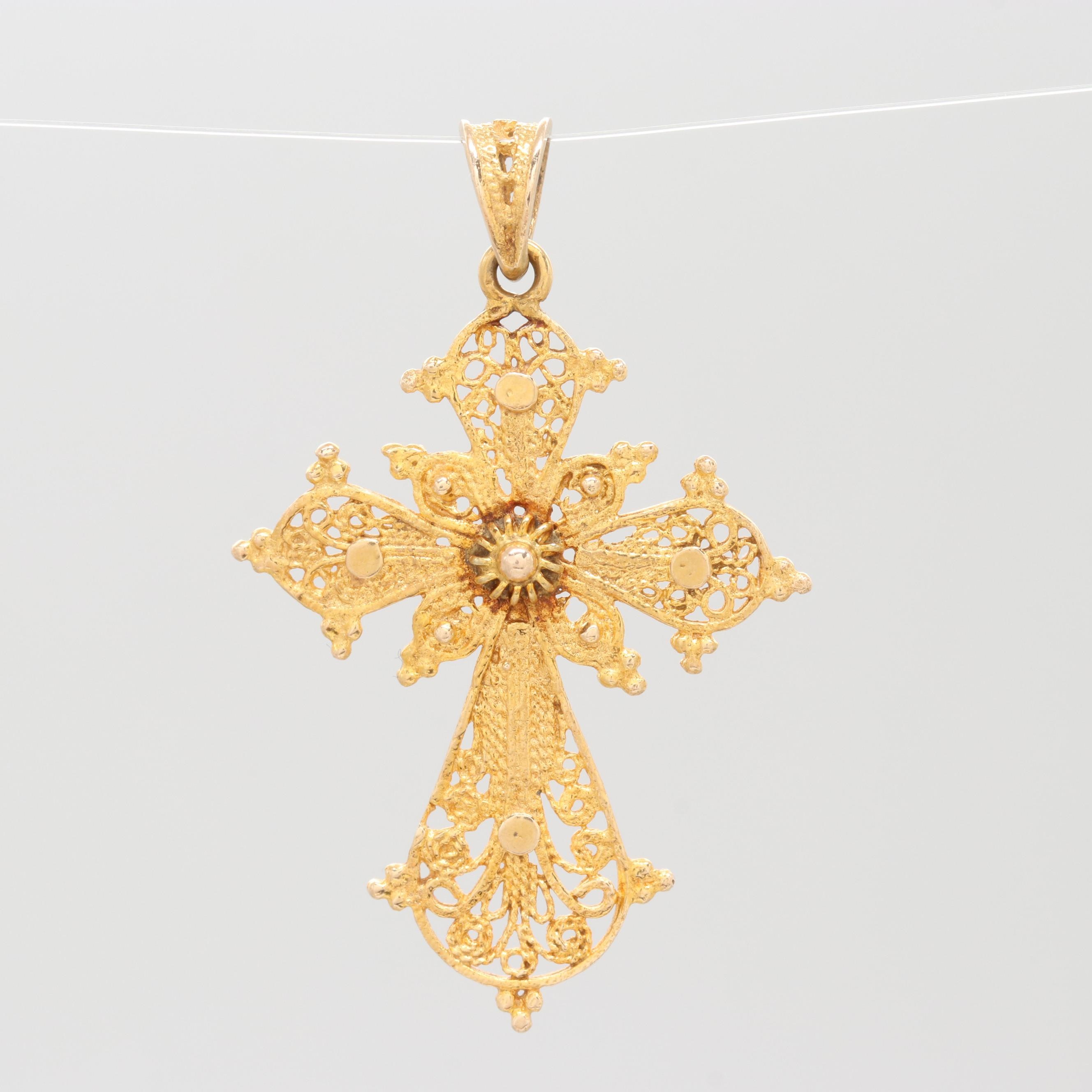 Etruscan Revival 14K Yellow Gold Cross Pendant