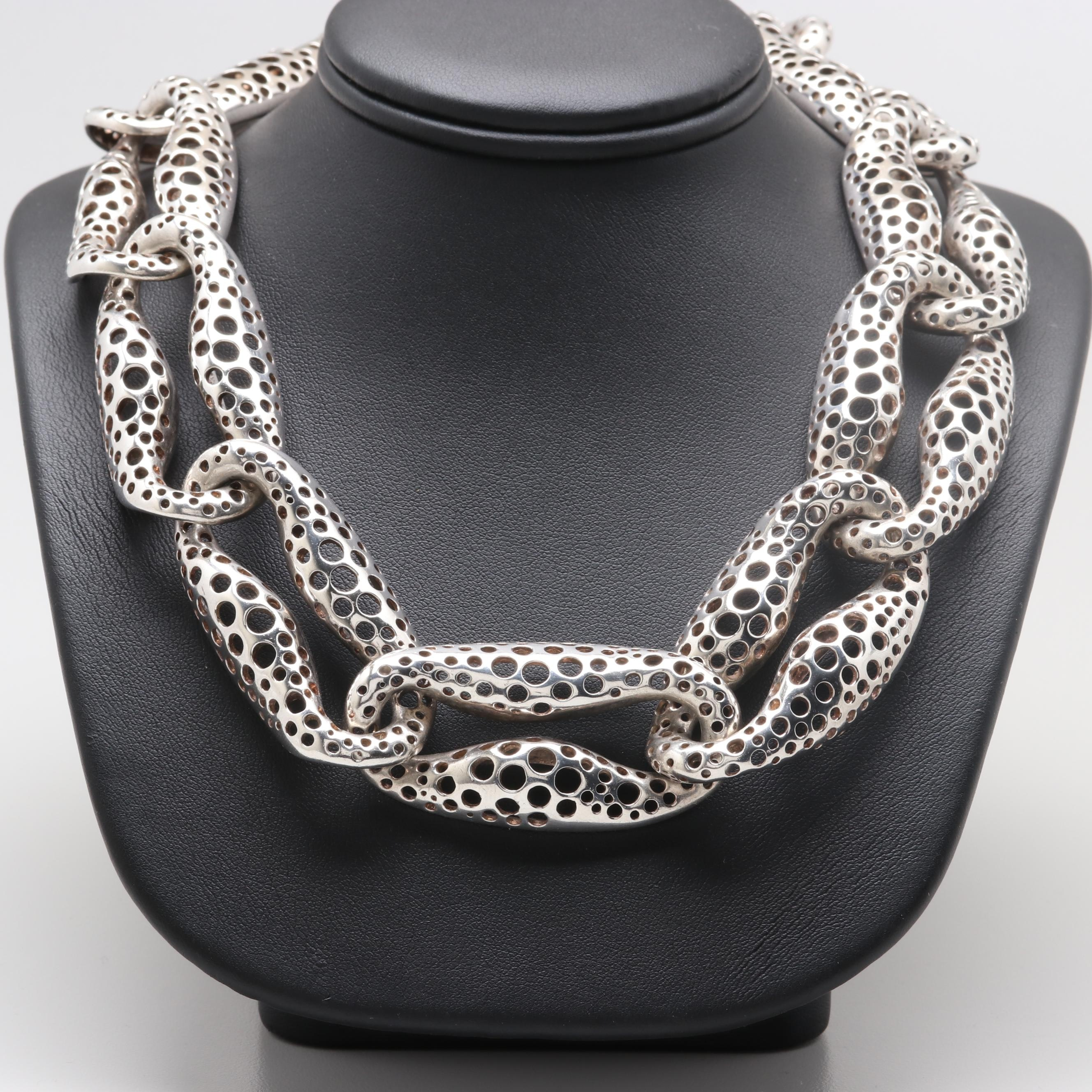 Vintage Angela Cummings Sterling Silver Perforated Link Necklace