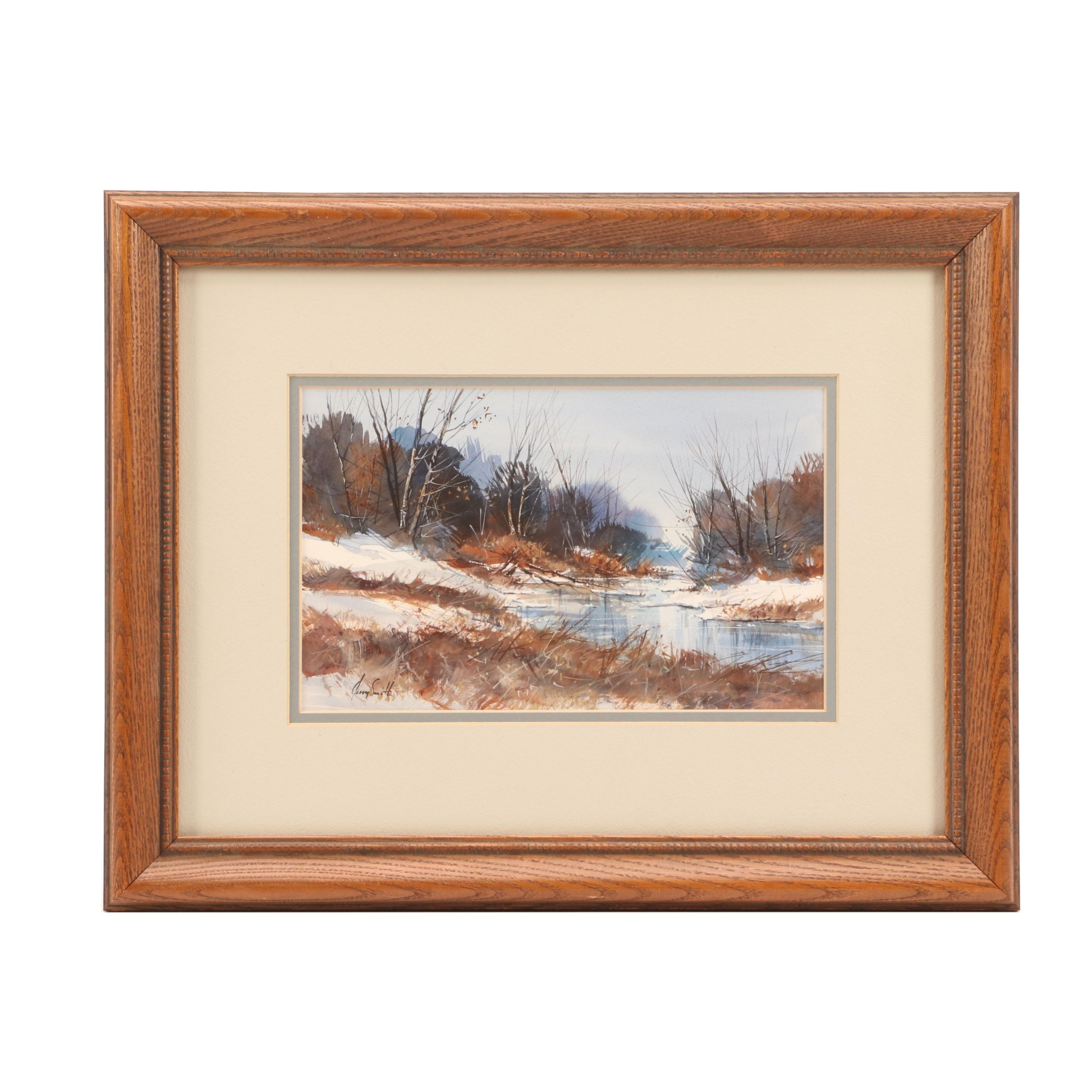 Jerry Smith Watercolor Painting of Winter Landscape