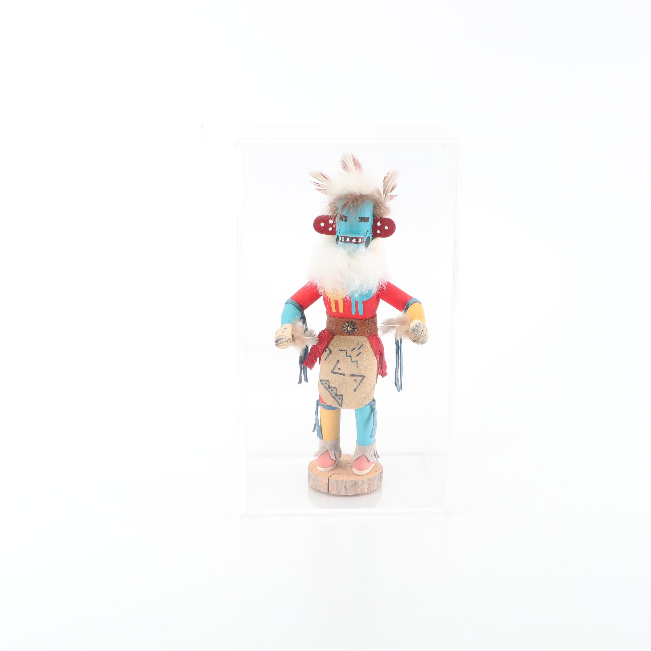 """R. Grey Hopi Kachina Carved Wood Figurine """"Blue Bear"""""""