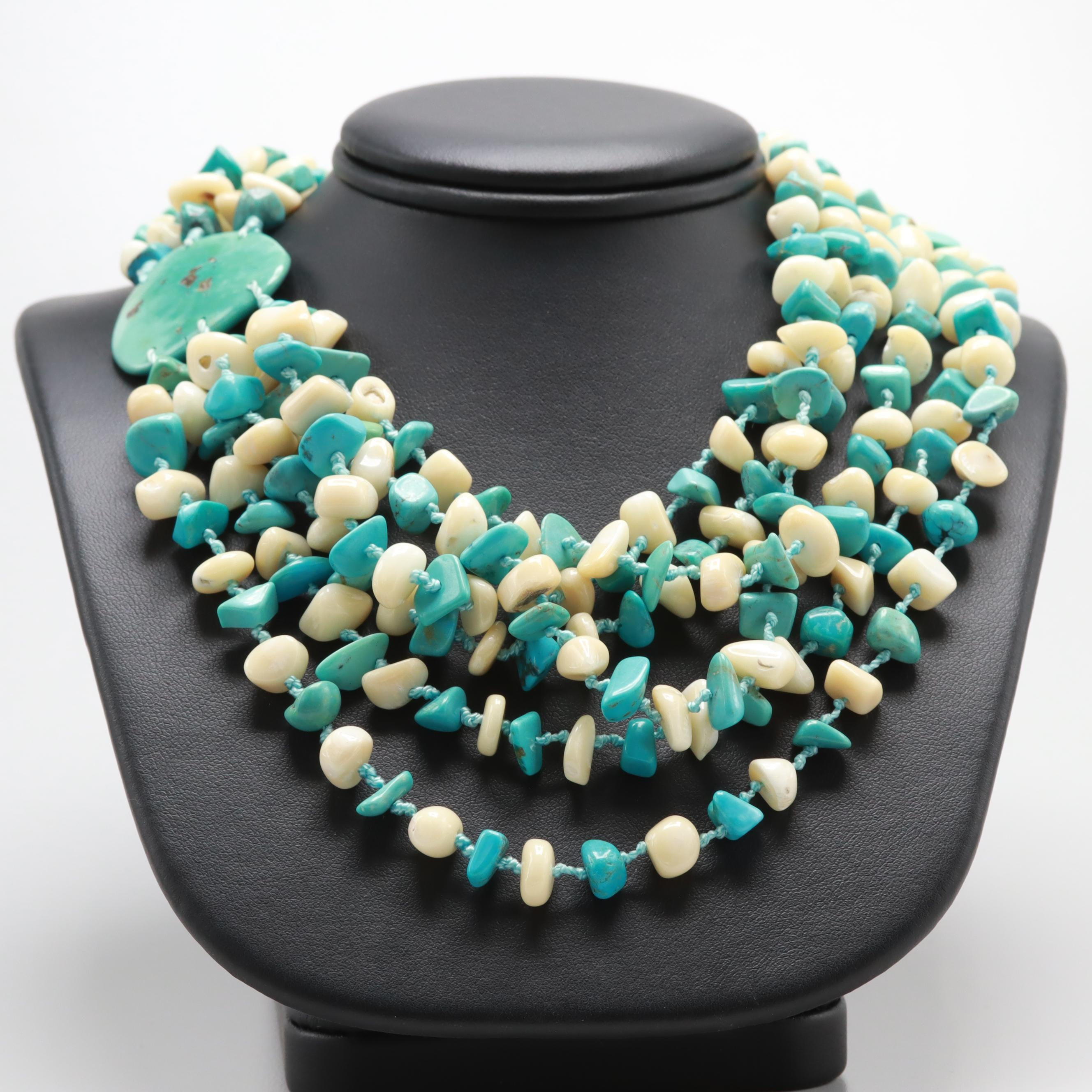 Hand Knotted Multi-Strand Shell, Coral and Turquoise Necklace