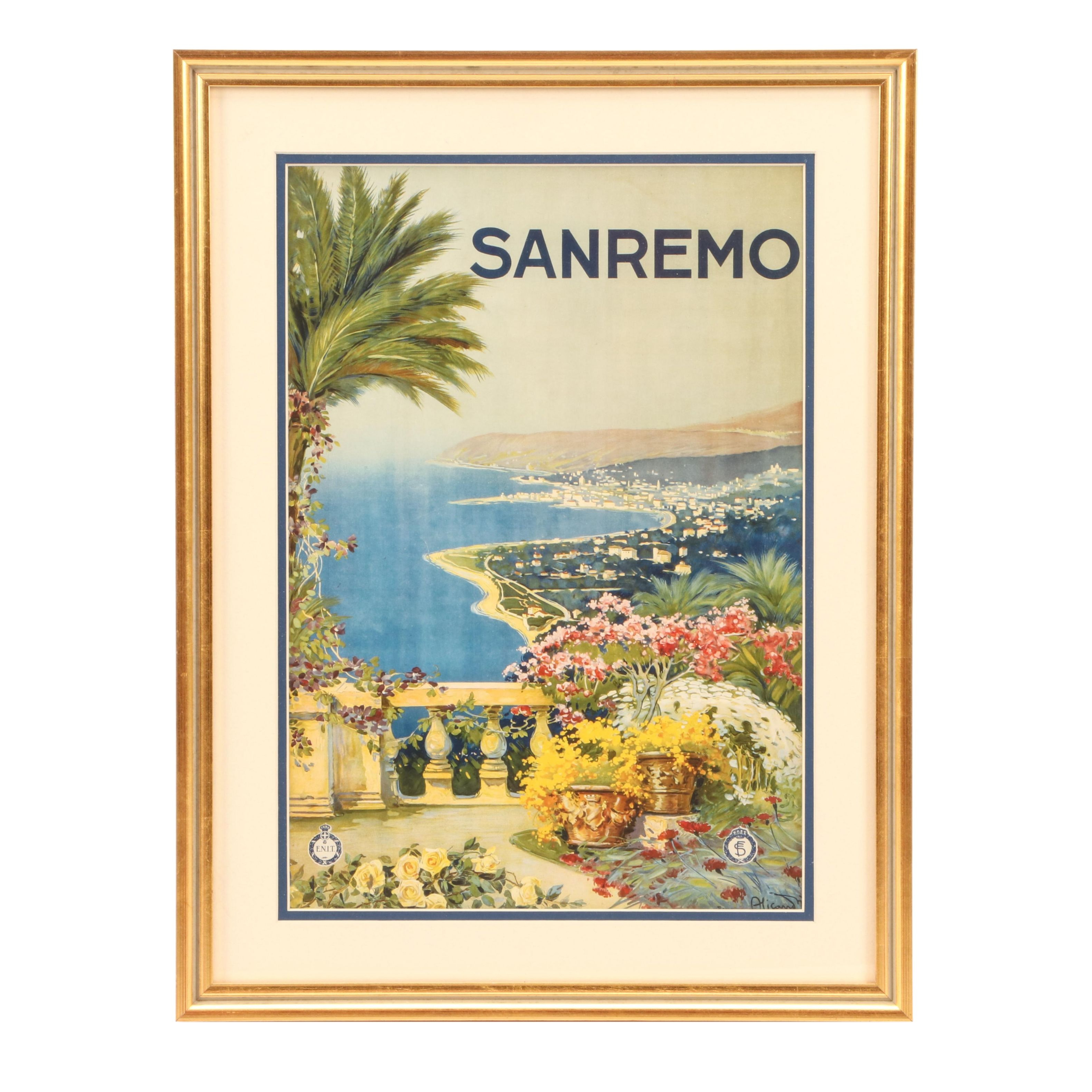 Offset Lithograph after 1920s Travel Poster for San Remo