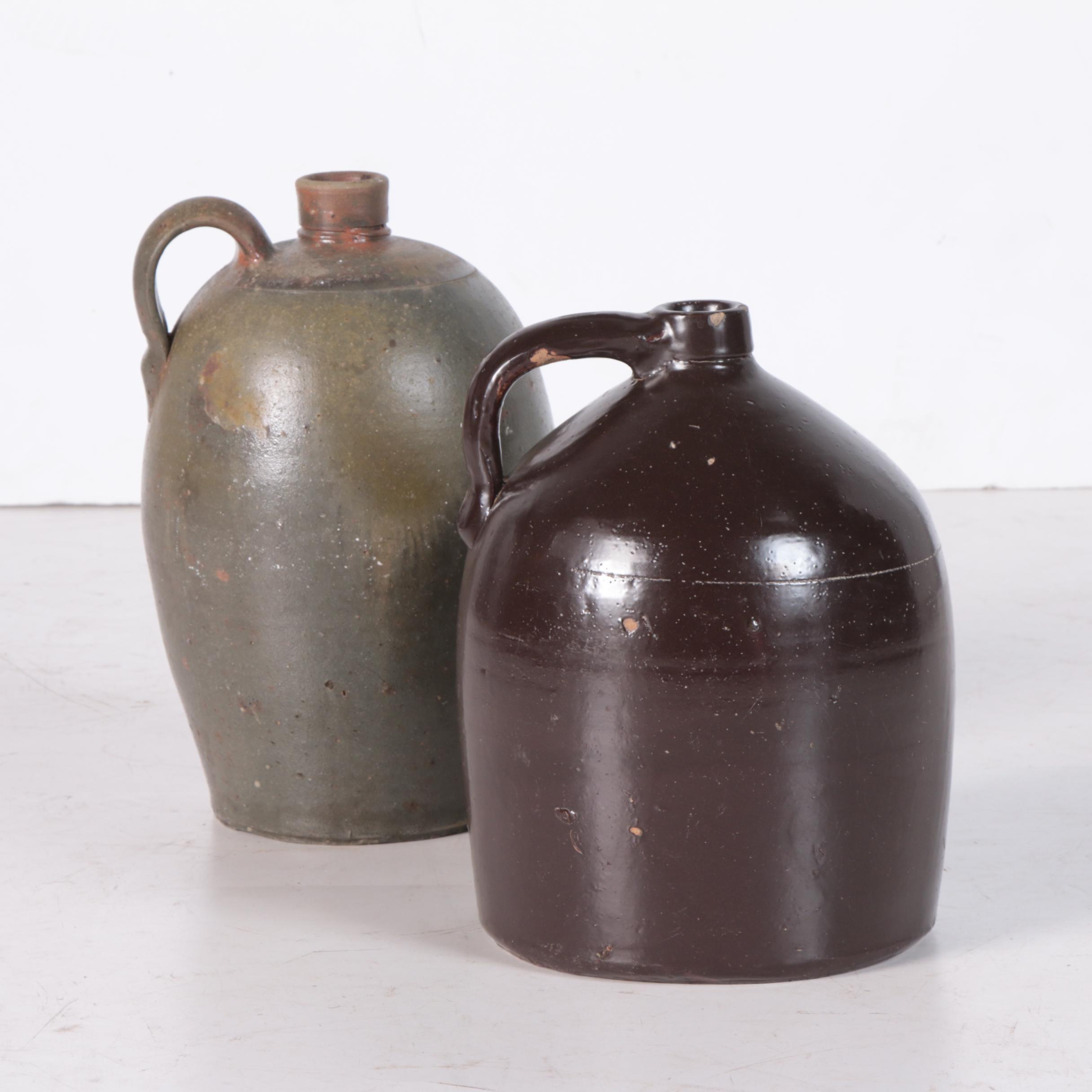 Vintage Salt and Slip Glazed Stoneware Whiskey Jugs
