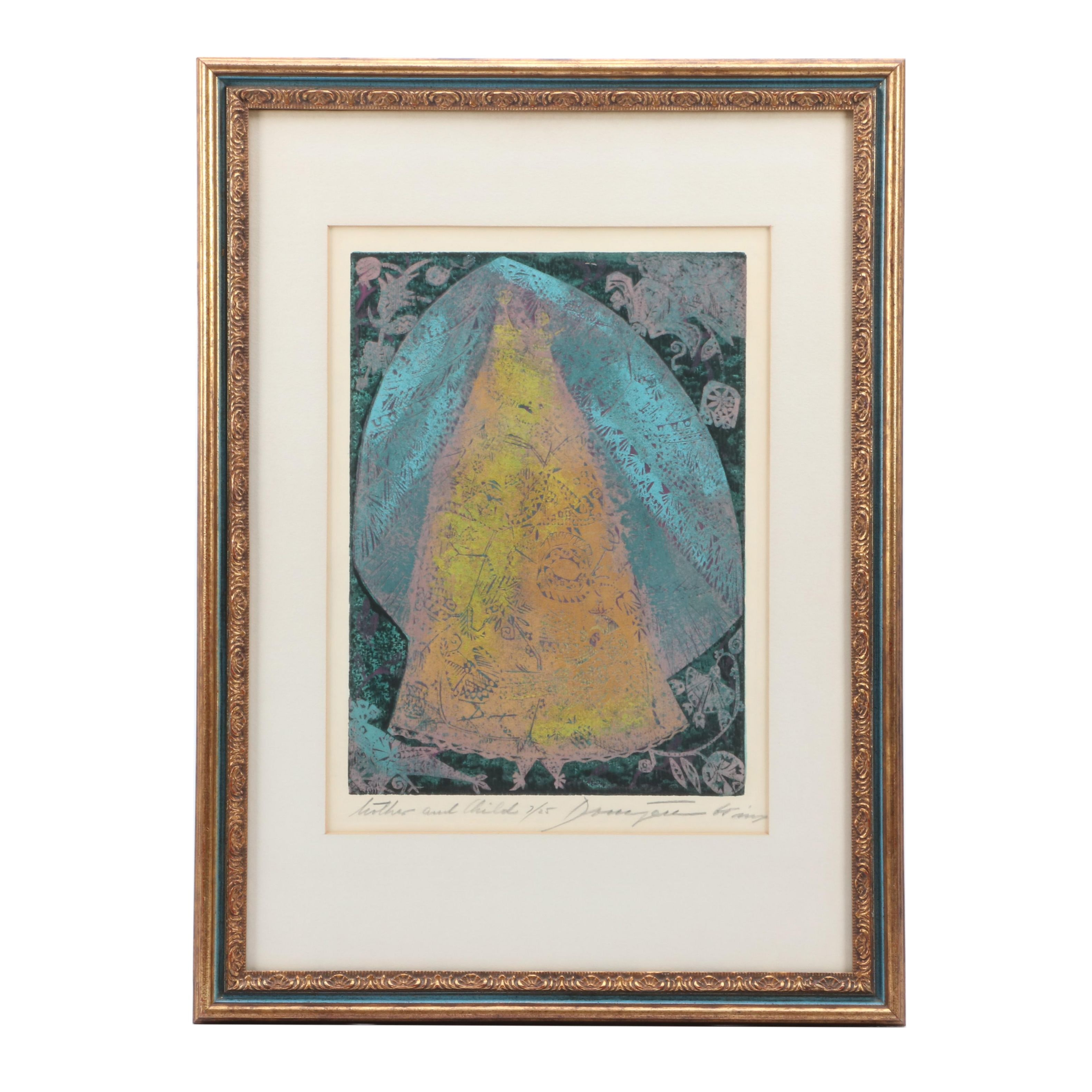 "Jozsef Domjan Limited Edition Color Woodblock ""Mother and Child"""