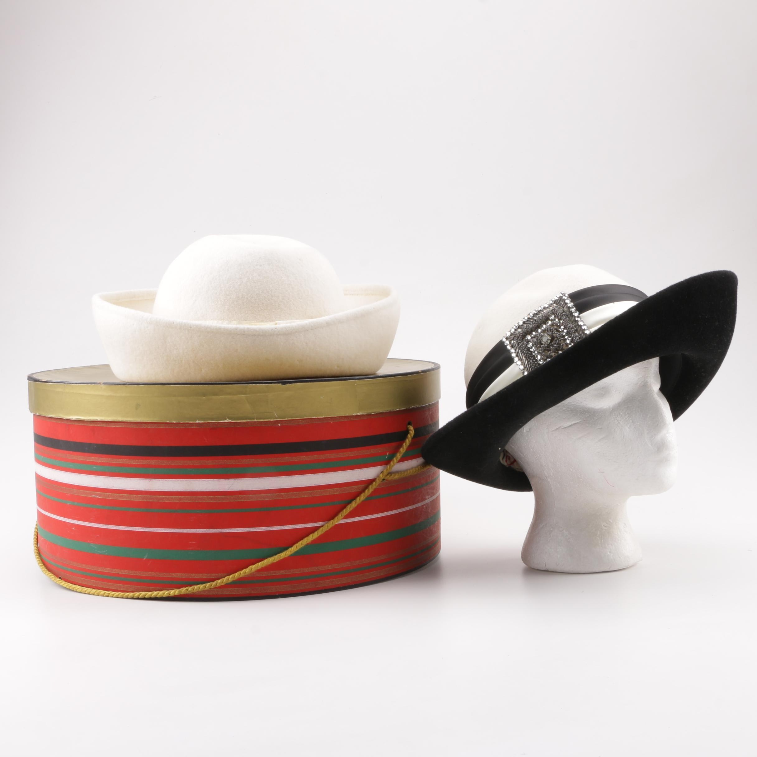 Women's Vintage Bachrach's and Mr. Charles Wool Felt Hats with Hat Box