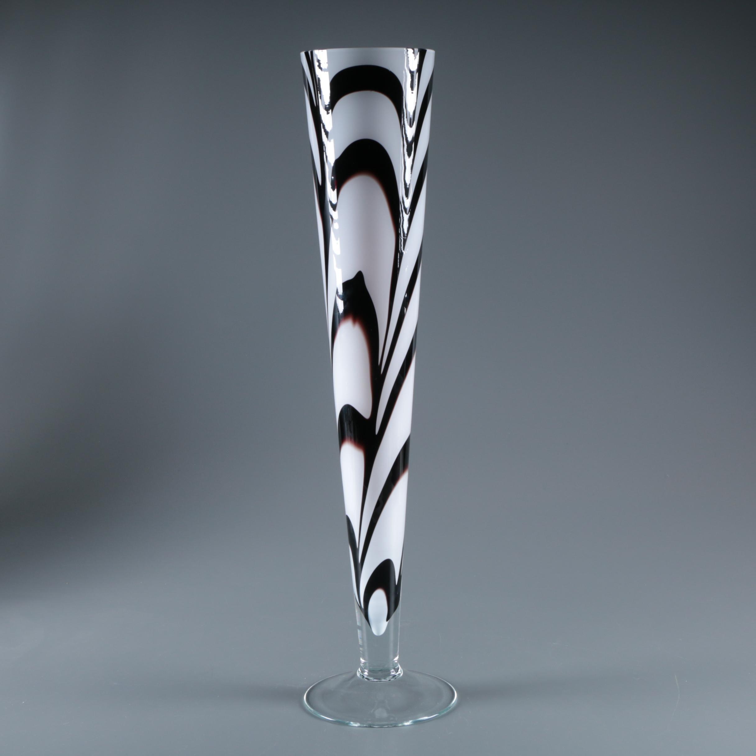 Makora Combed and Cased Blown Glass Trumpet Floor Vase
