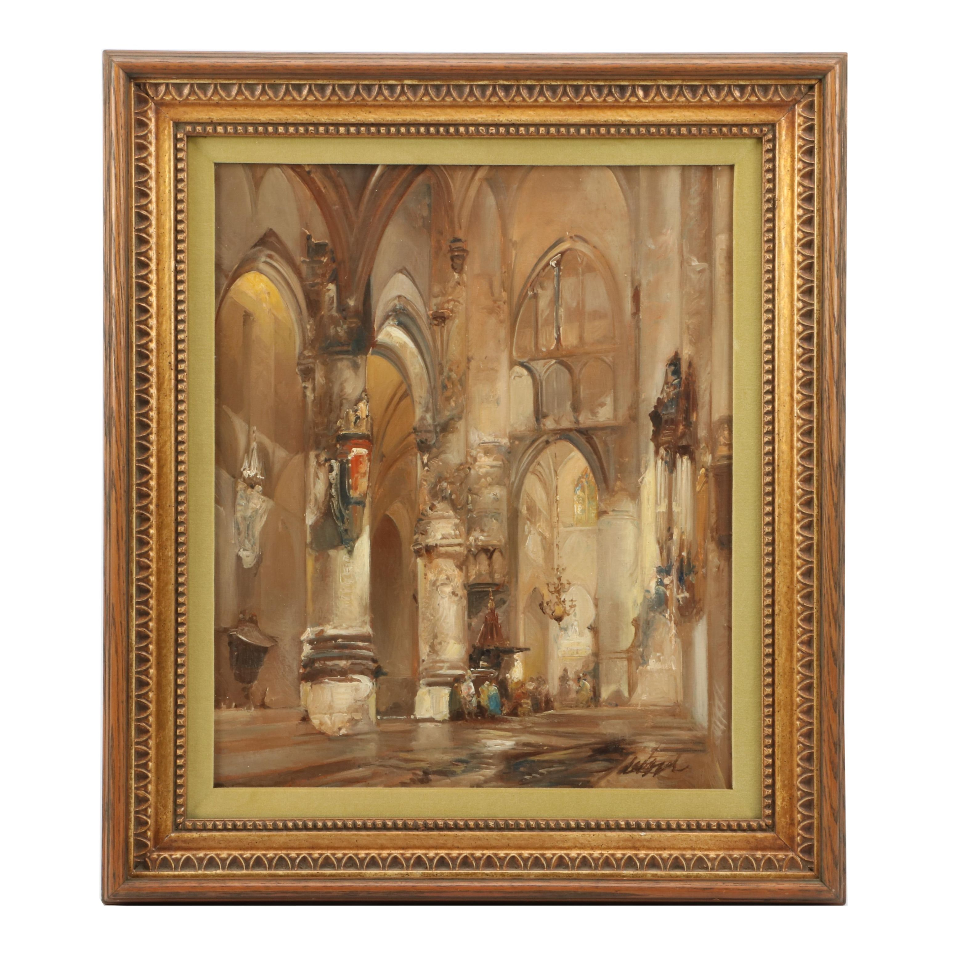 Late 20th-Century Oil Painting Gothic Cathedral Interior