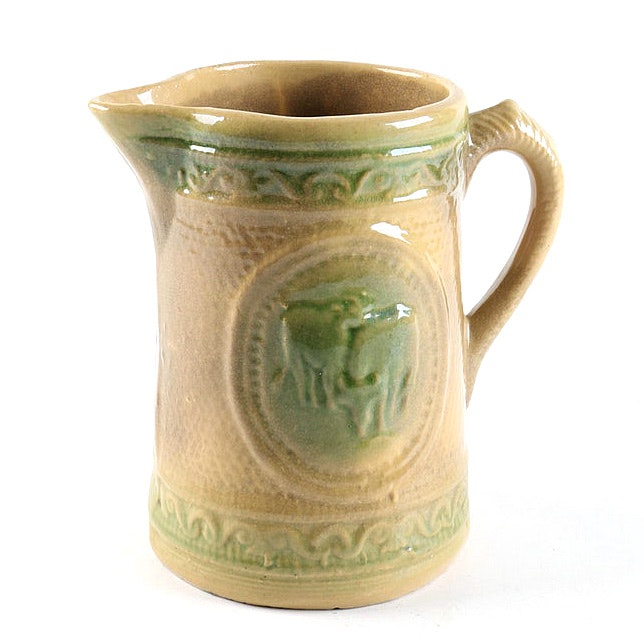 Antique Yellow Ware Pitcher with Grazing Cows