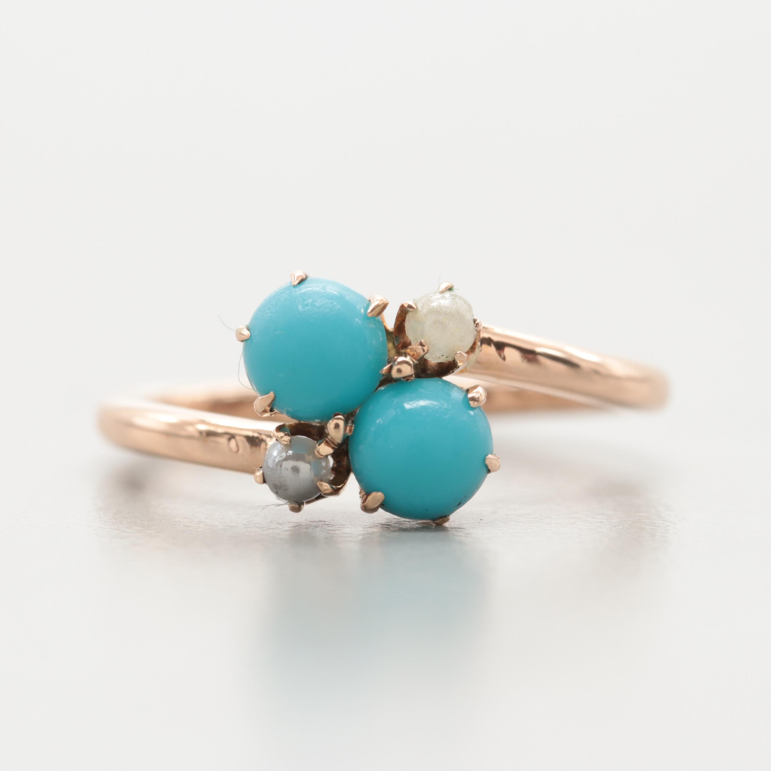 Victorian 10K Yellow Gold Imitation Turquoise and Imitation Pearl Ring