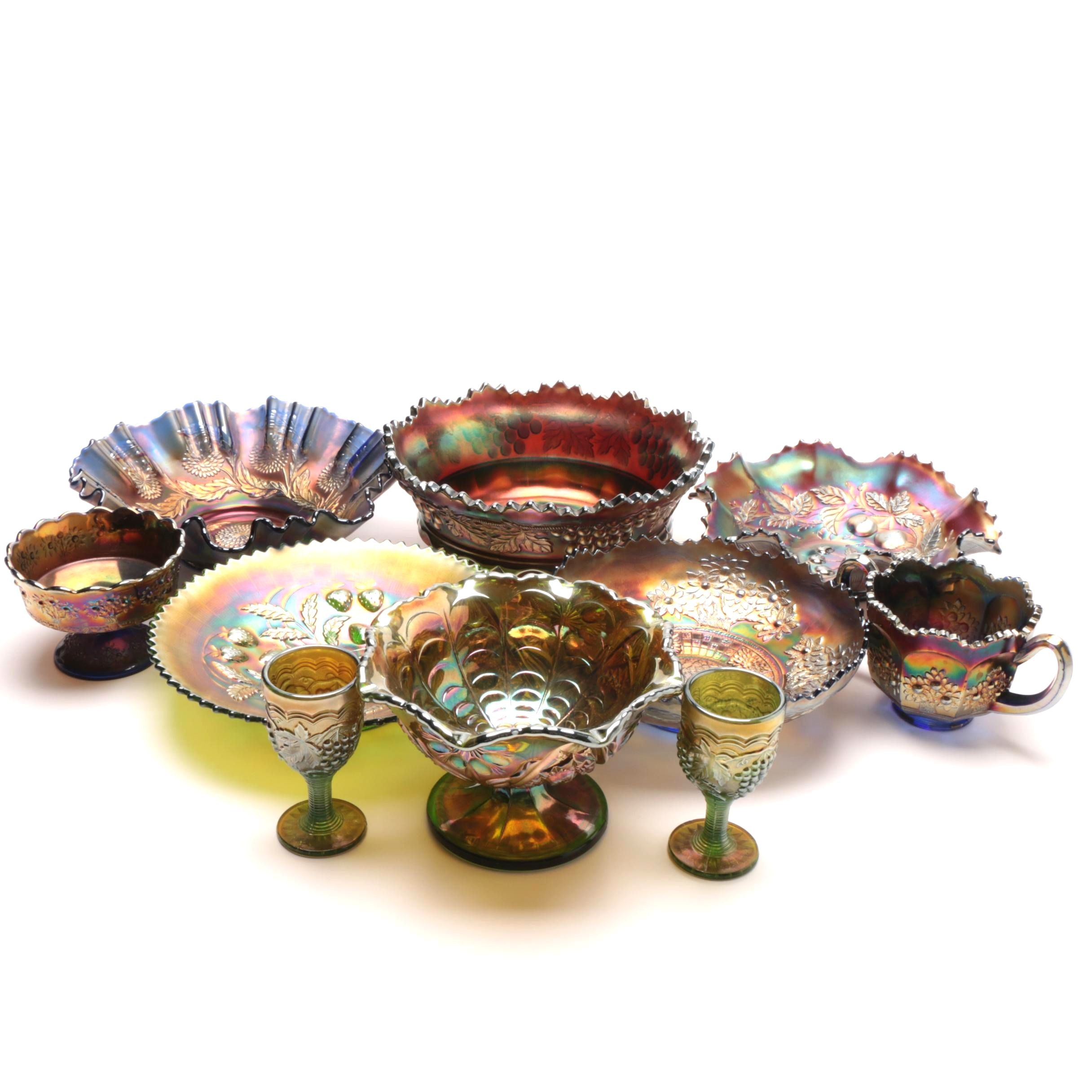 Group of Carnival Glass Serveware including Imperial Glass and Northwood