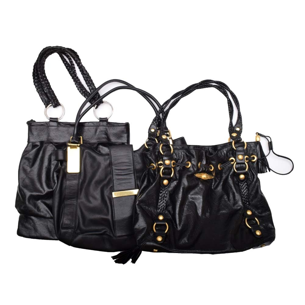 Black Leather Handbags featuring Elliott Lucca and Alfreda Piccilli