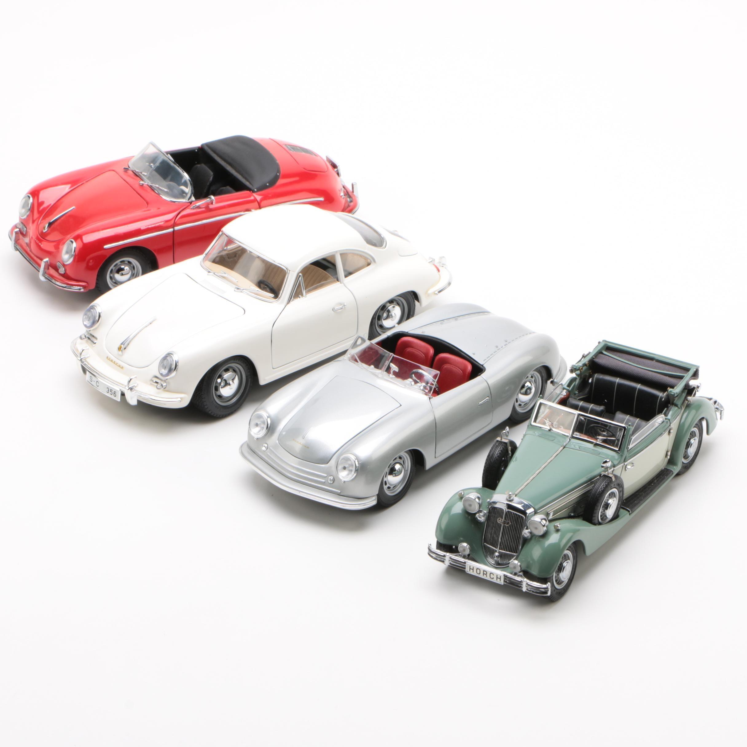 Porsche and Horch Die-Cast Cars including Maisto